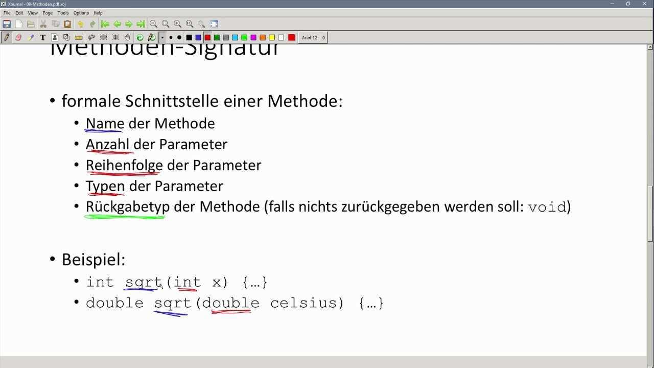 Oop In Java 08 02 Methoden Signatur Youtube