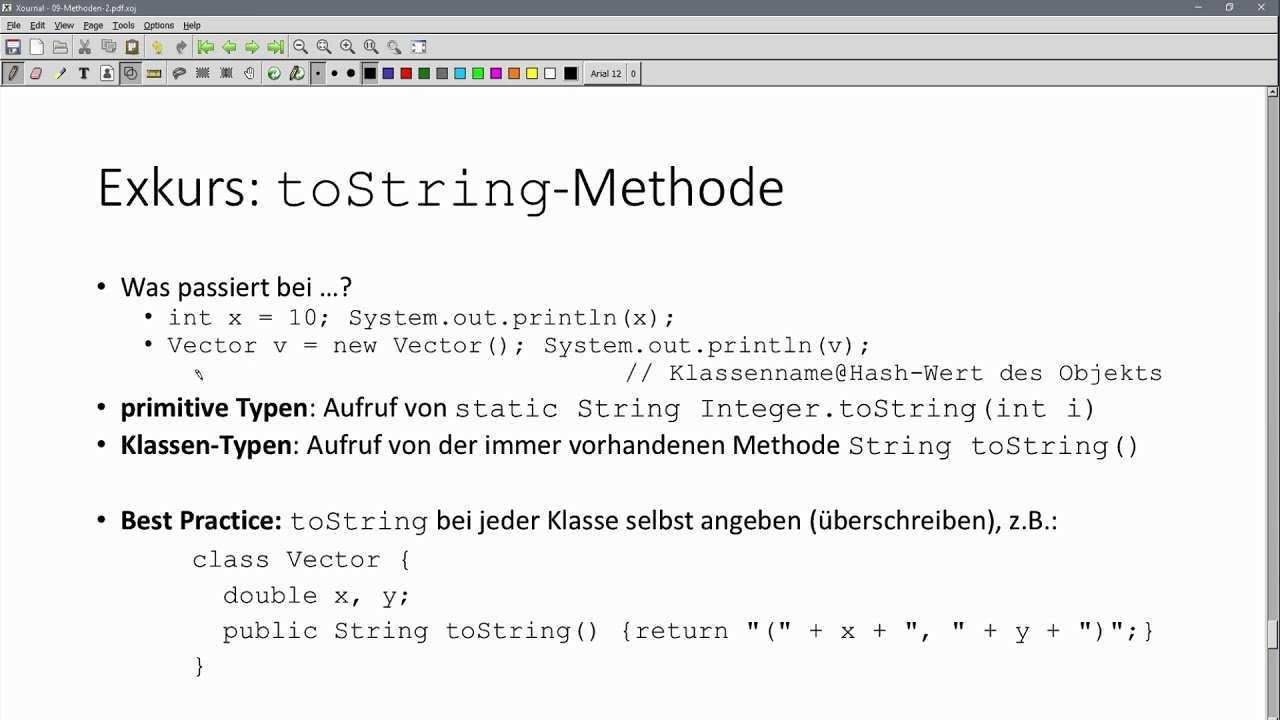 Oop In Java 08 11 Tostring Methode Bei Objekten Und Primitiven Datentypen Beispiel Vector Youtube