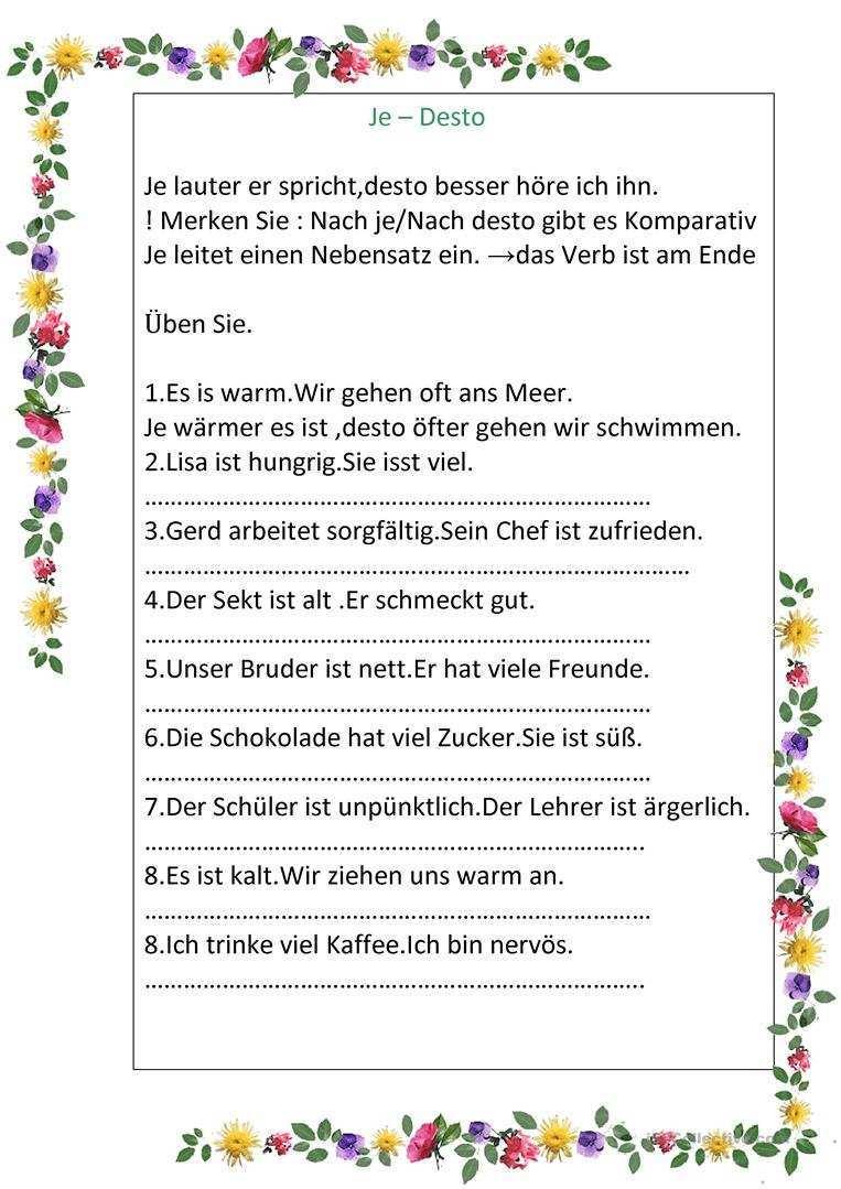Je Desto Deutsch Daf Arbeitsblatter