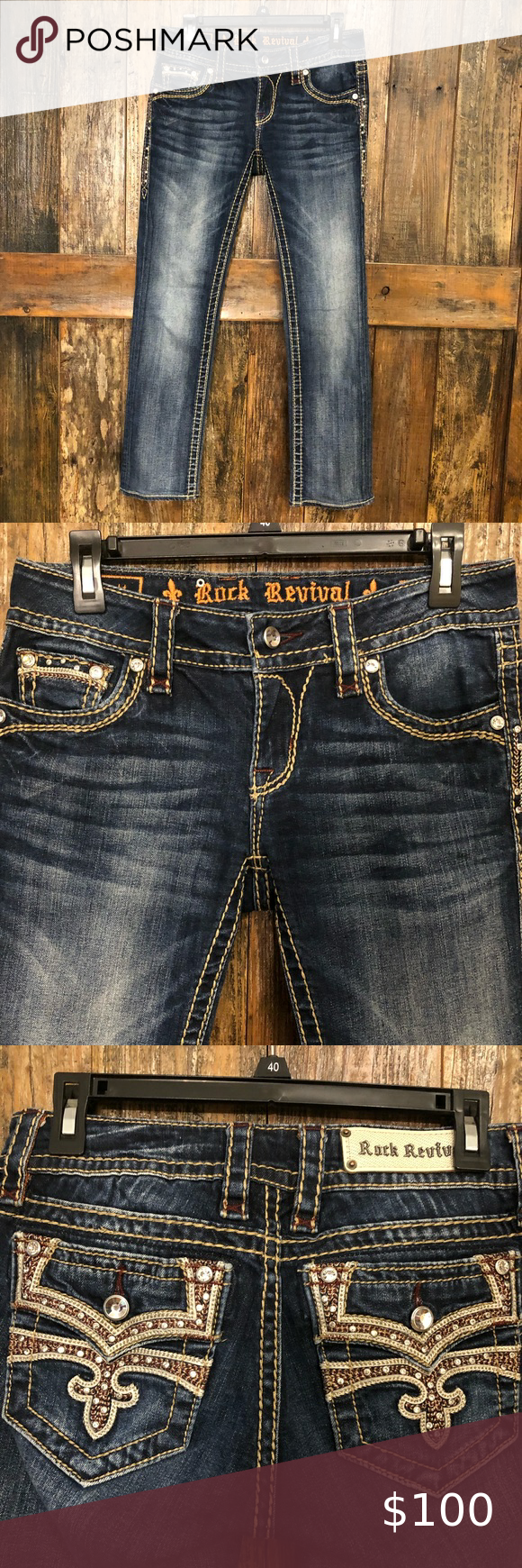 Rock Revival 28 Straight Leg Celina Fabulous Pair Of Jeans With Lots Of Bling Embroidered Embellishments Wais In 2020 Rock Revival American Eagle Outfits Celina