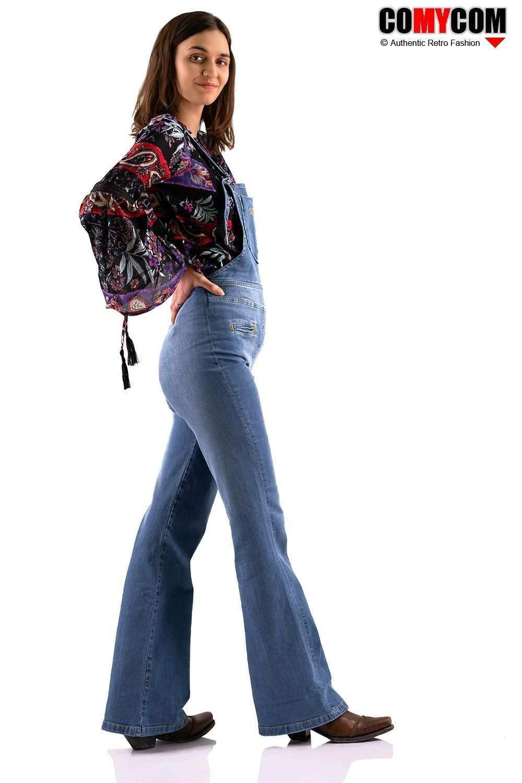 Verwaschene Comycom Damen Jeans Latzhose 70er Jahre Retro Look Latzhose Jeans Latzhose 70s Mode