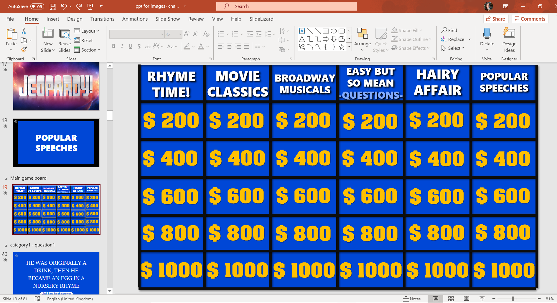 Jeopardy Game Template For Powerpoint 2020 Slidelizard
