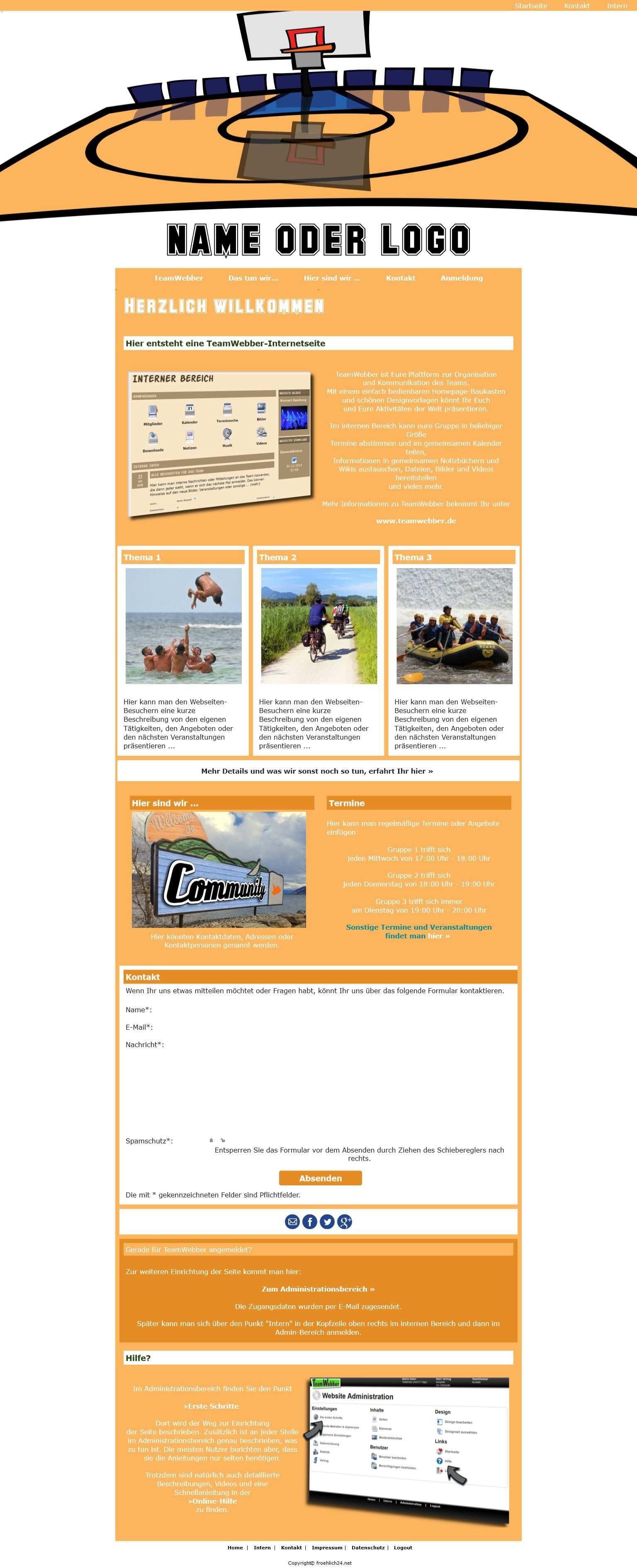 Homepage Baukasten Community Fur Alle Teams Ein Basketball Sportverein Verein