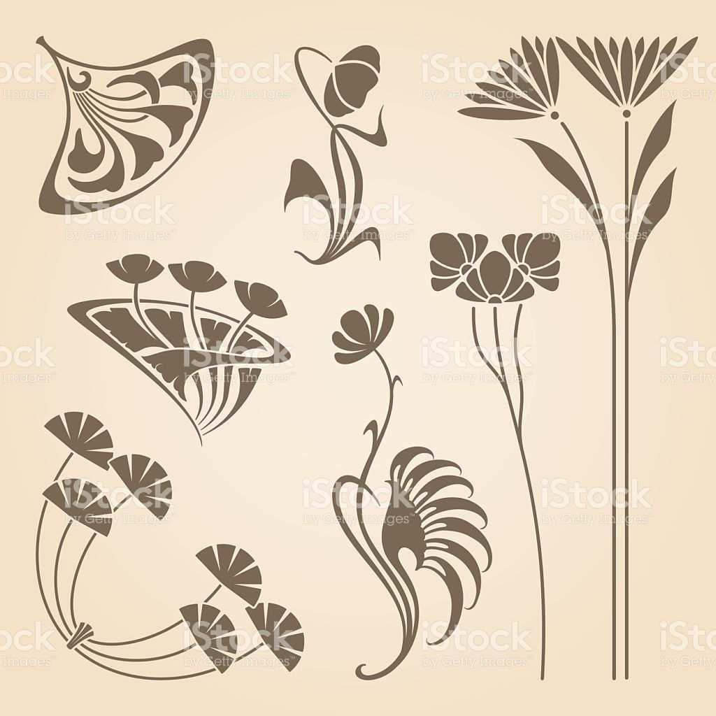 Vector Set Of Vintage Art Nouveau Design Elements Art Nouveau Tattoo Vintage Kunst Jugendstil Ornamente