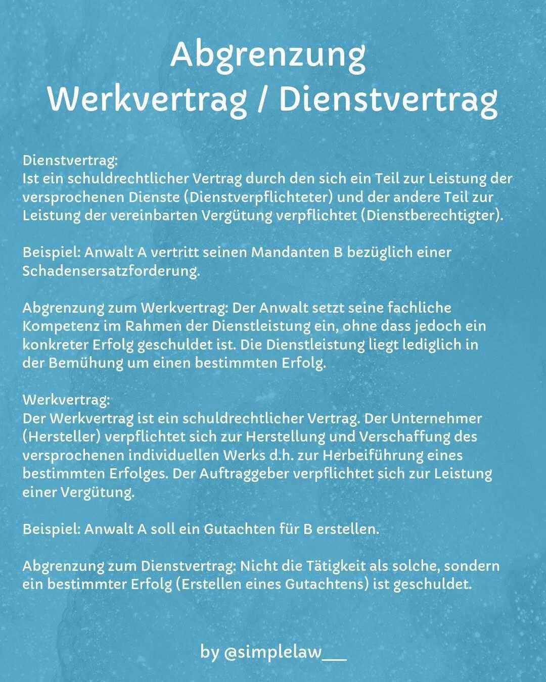 Jura Werkvertrag Dienstvertrag Jura Studium Vertrag
