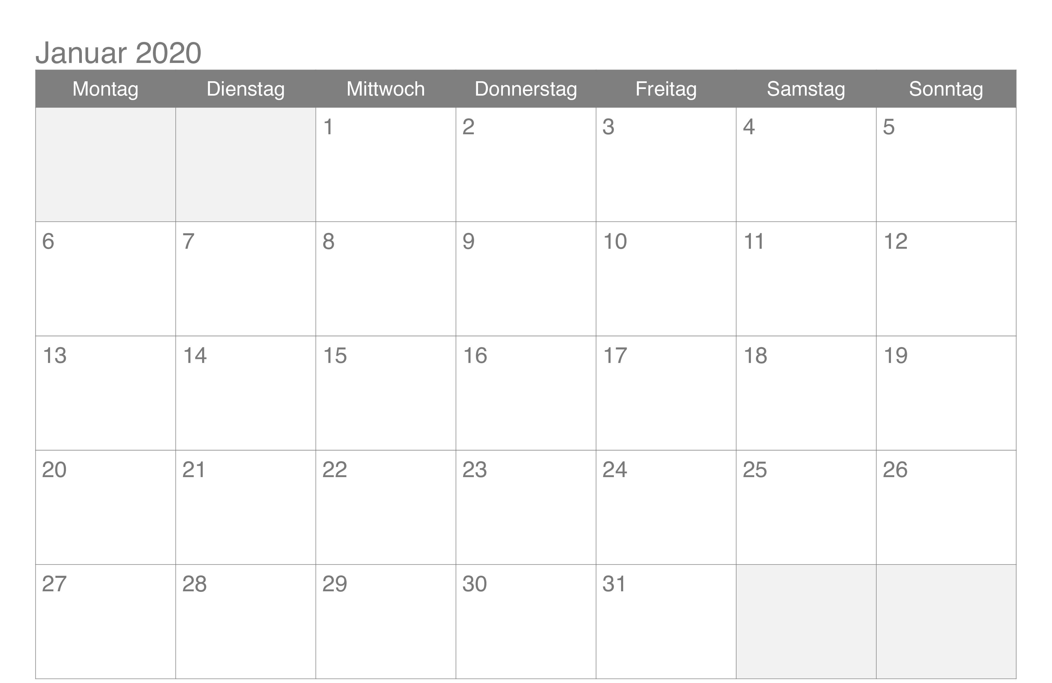 Januar 2020 Kalender Excel Free Calendar Template Printable Calendar Template Monthly Calendar Template