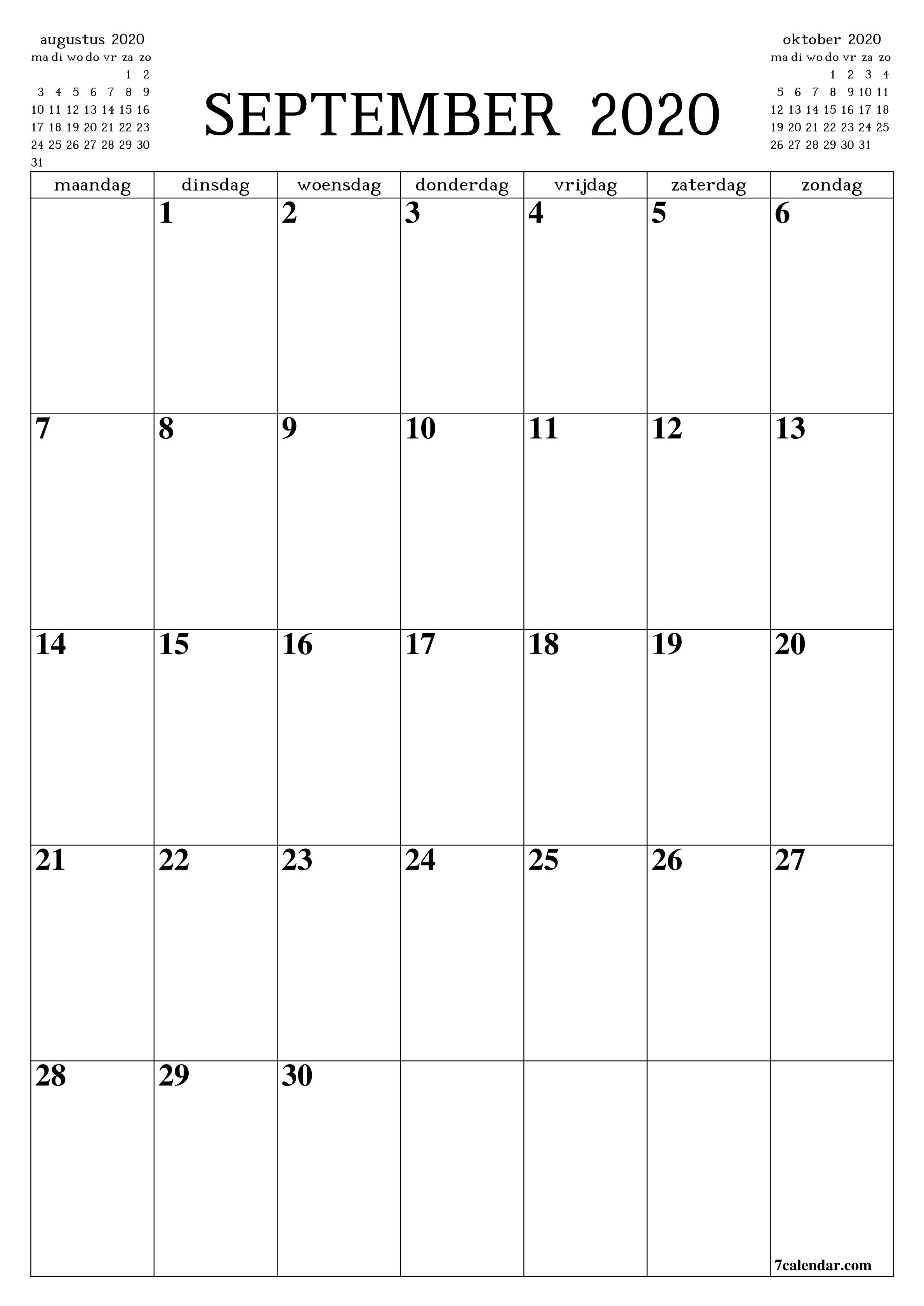 September 2020 Kalender Vorlage Calendar Printables Calendar Stencils Printables