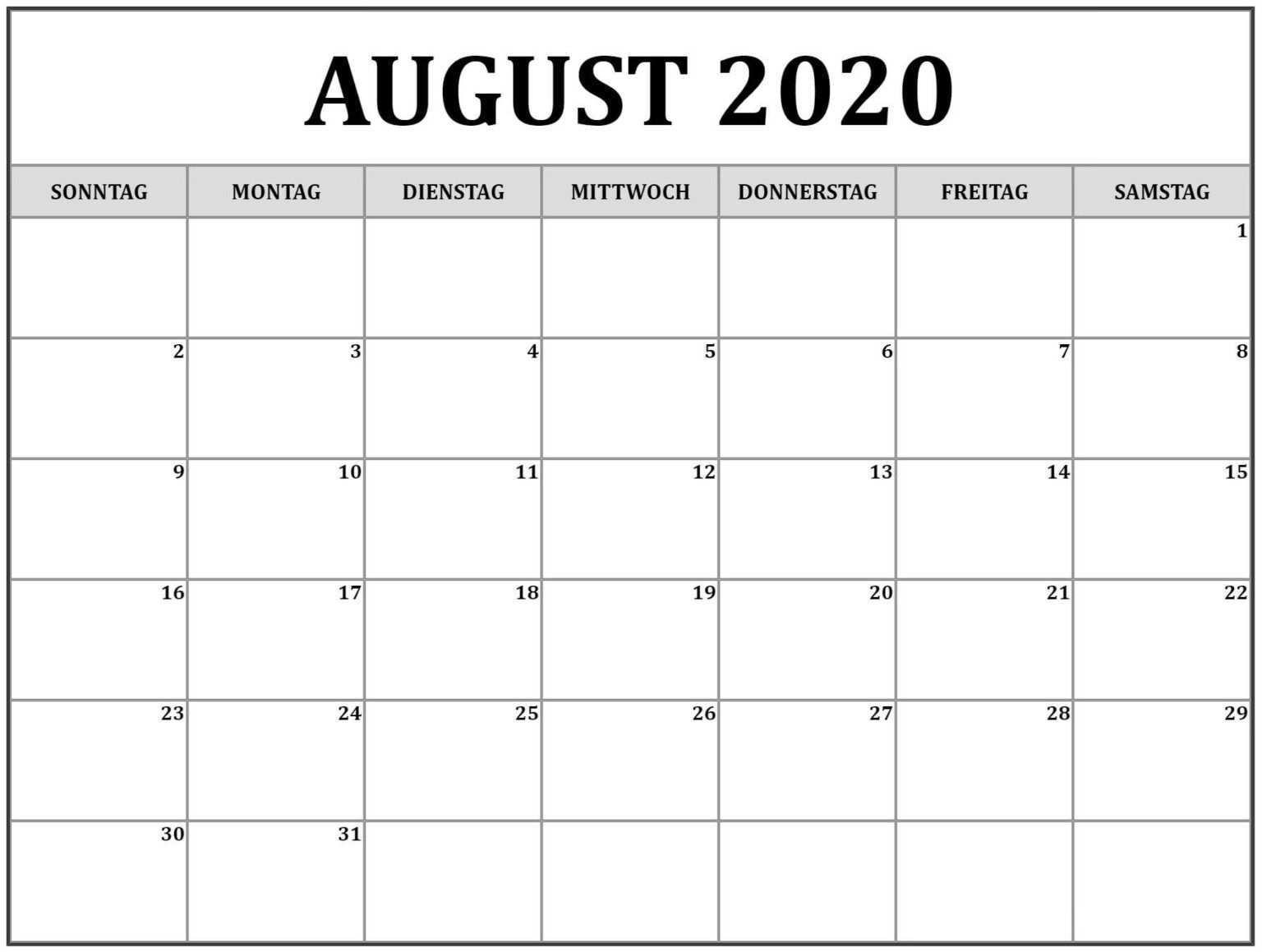 Kalender August 2020 Word Vorlagen Pdf Nosuvia Com August Printable Calendar Calendar