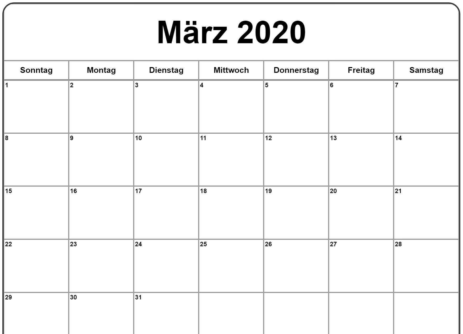 Marz 2020 Kalender Kalender 2019 Kalender Kalender Vorlagen
