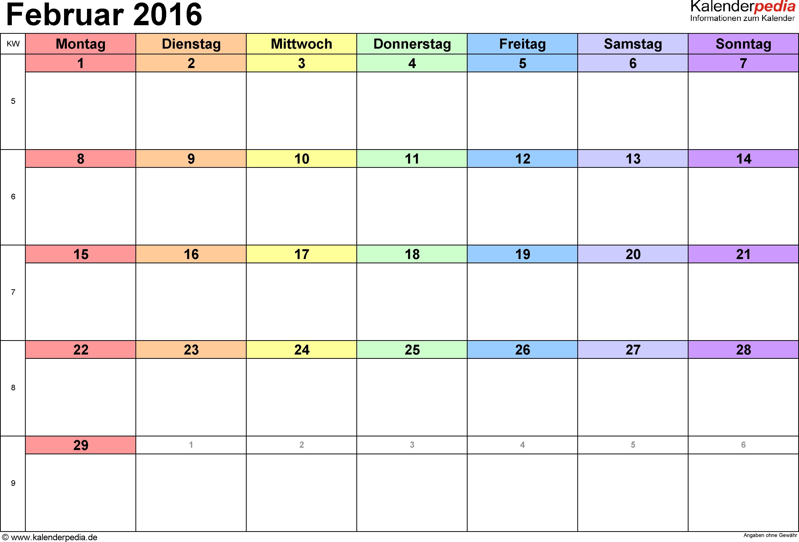 Kalender Februar 2016 Als Excel Vorlagen Kalender Vorlagen Excel Vorlage Kalender