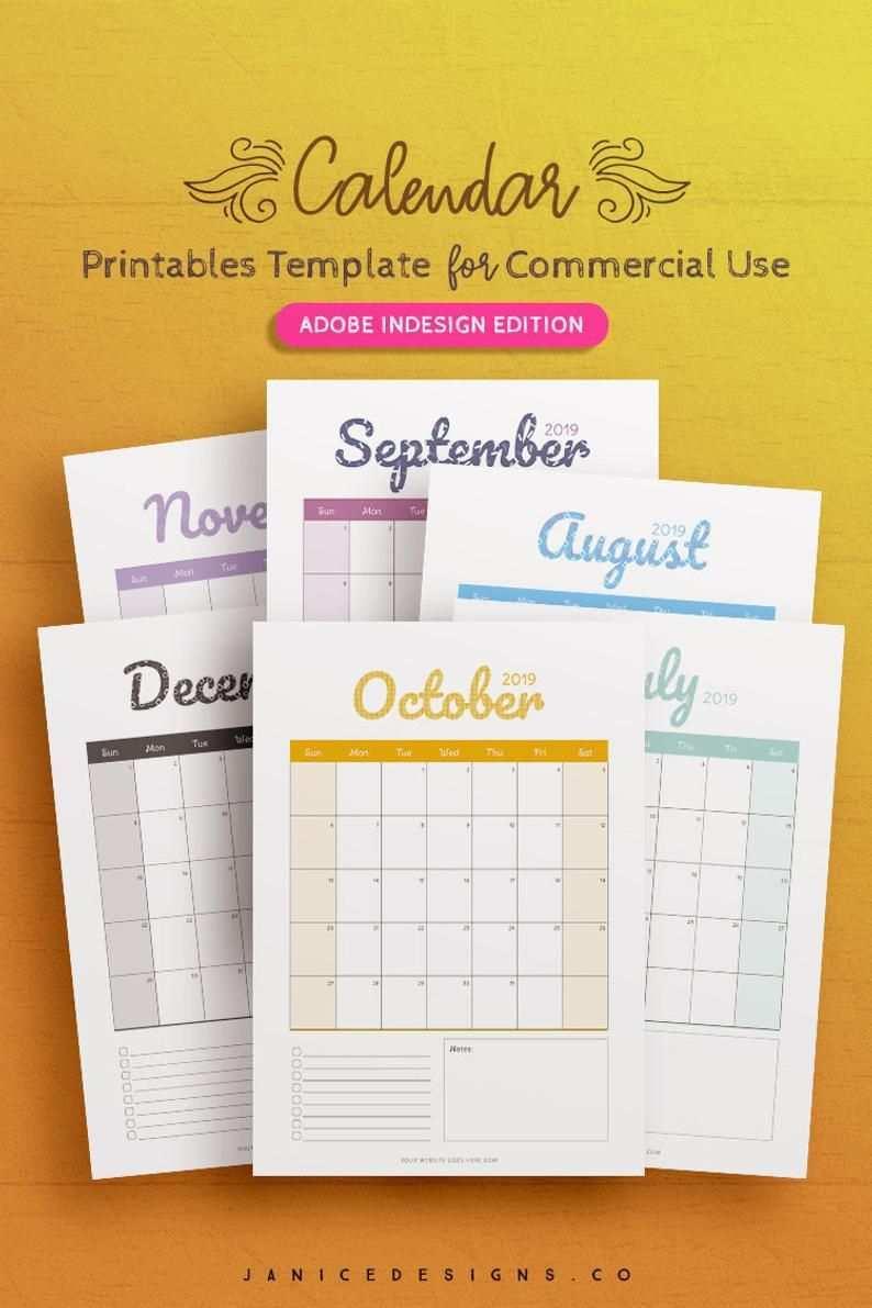 2019 Calendar Indesign Template For Commercial Use Etsy Indesign Templates Calendar Template Printable Calendar Design