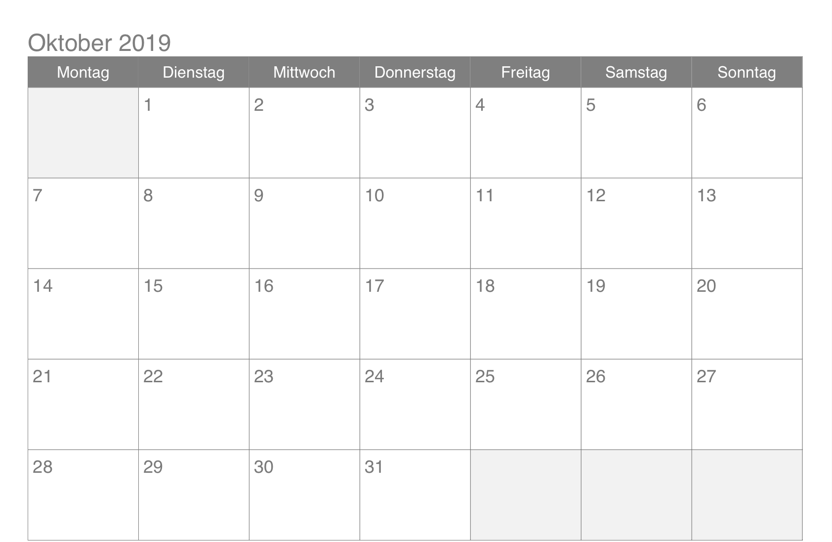 Oktober 2019 Kalender Pdf 2019 Kalender Leerer Kalender Oktober Kalender