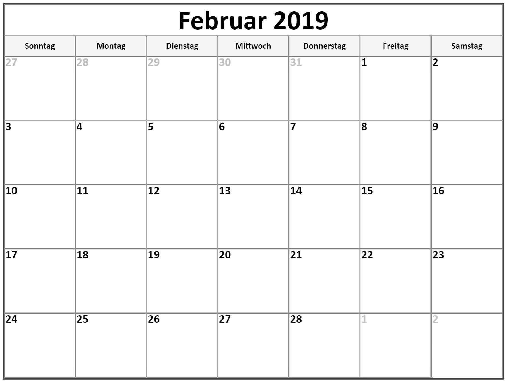 Kalender Februar 2019 In Pdf Word Excel Druckbare Vorlage Kalender2019 Februar Free Printable Calendar Free Printable Calendar Monthly Calendar Printables