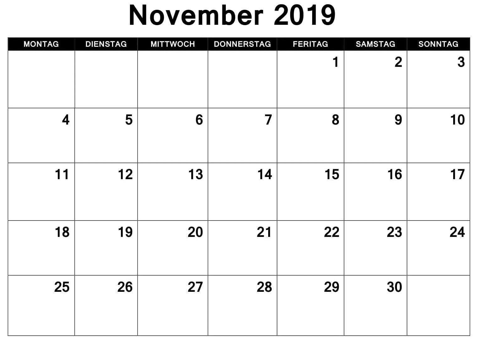 Word Kalender 2019 November November Calendar Template Monthly Calendar Template