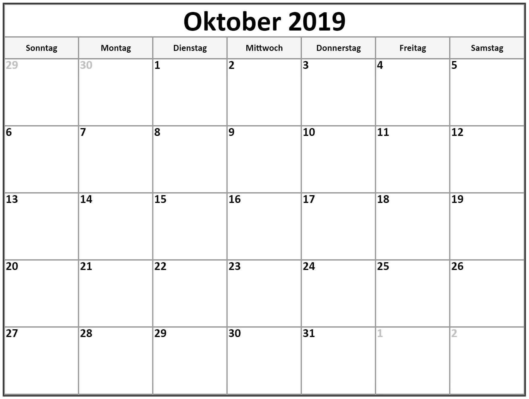 Kalender 2019 Oktober Drucken Free Printable Calendar Free Printable Calendar Monthly Calendar Printables