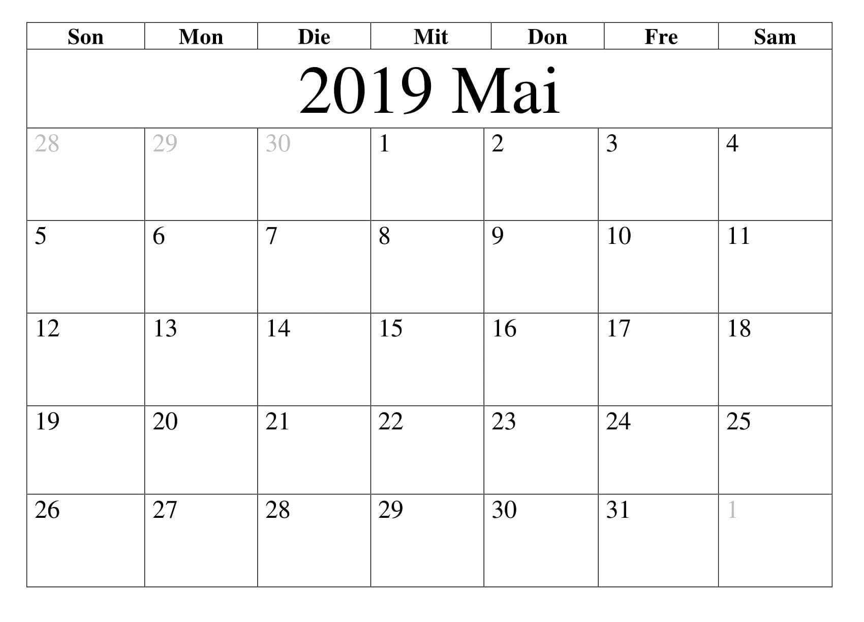 Kalender 2019 Mai Monats Calendar 2019 Template Calendar Template Calendar Word