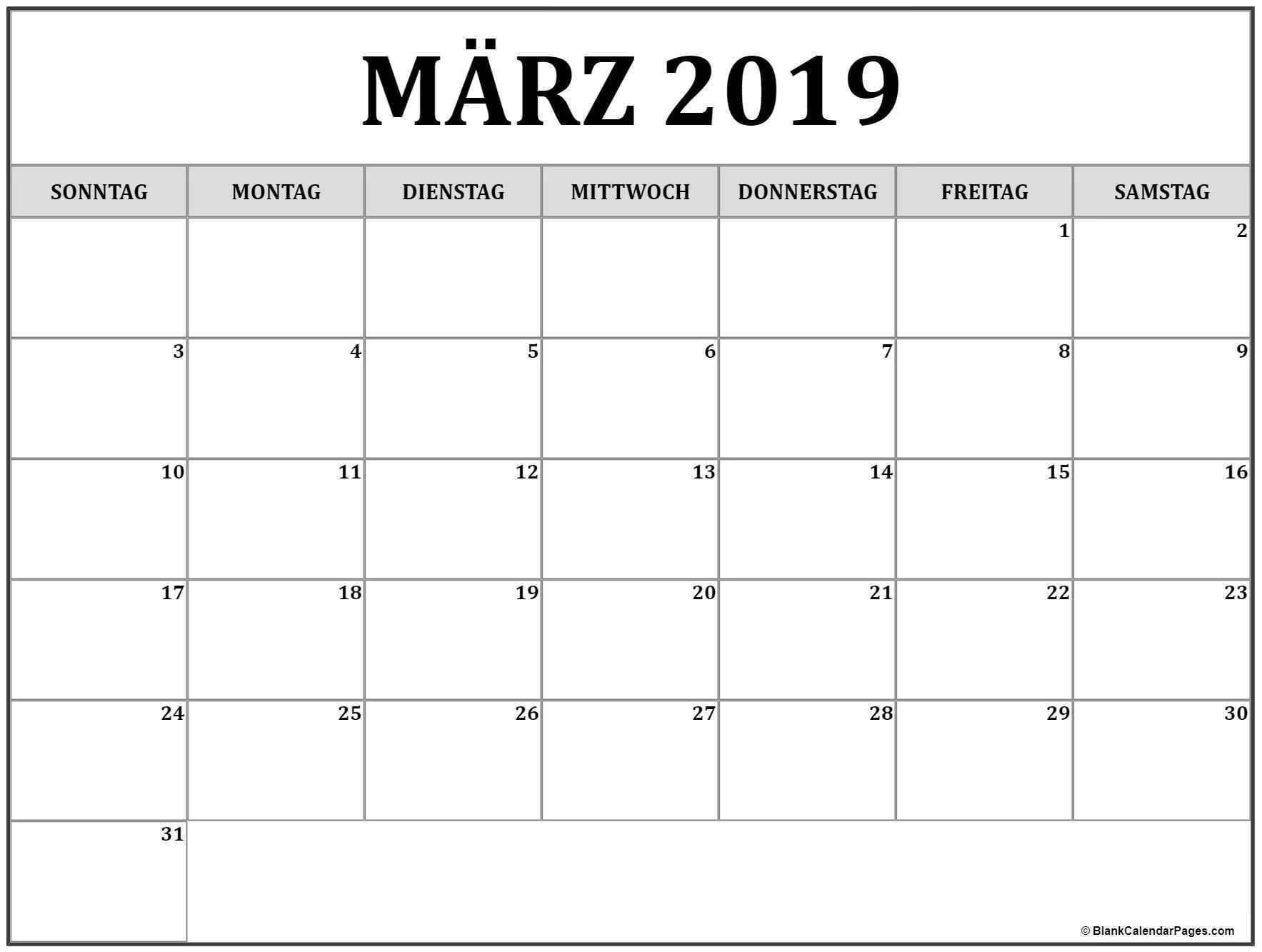Marz 2019 Kalender Druckbarer Calendar Printables 2019 Calendar Calendar May