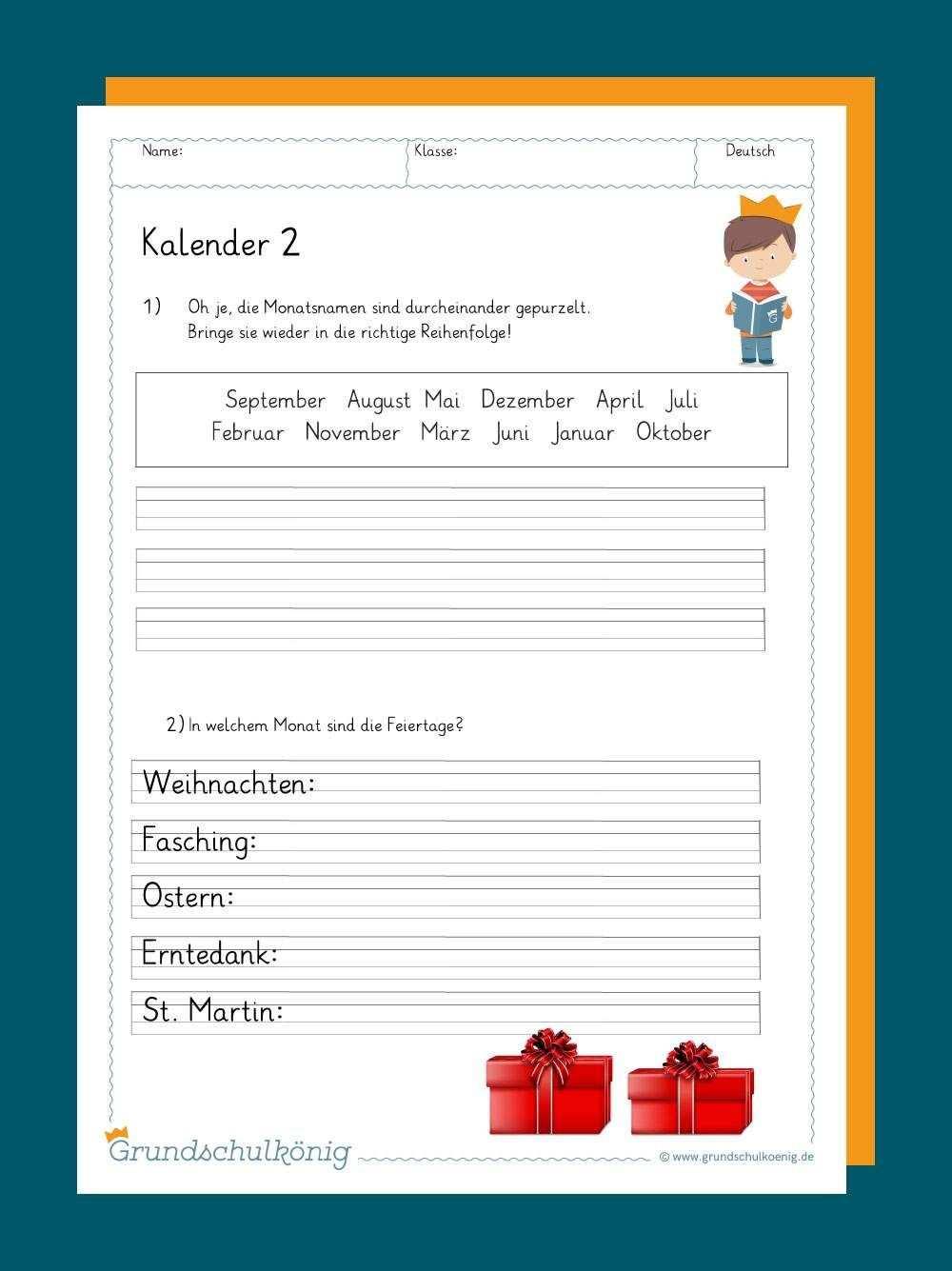 Kalender In 2020 Kalender Lernen Grundschulkonig