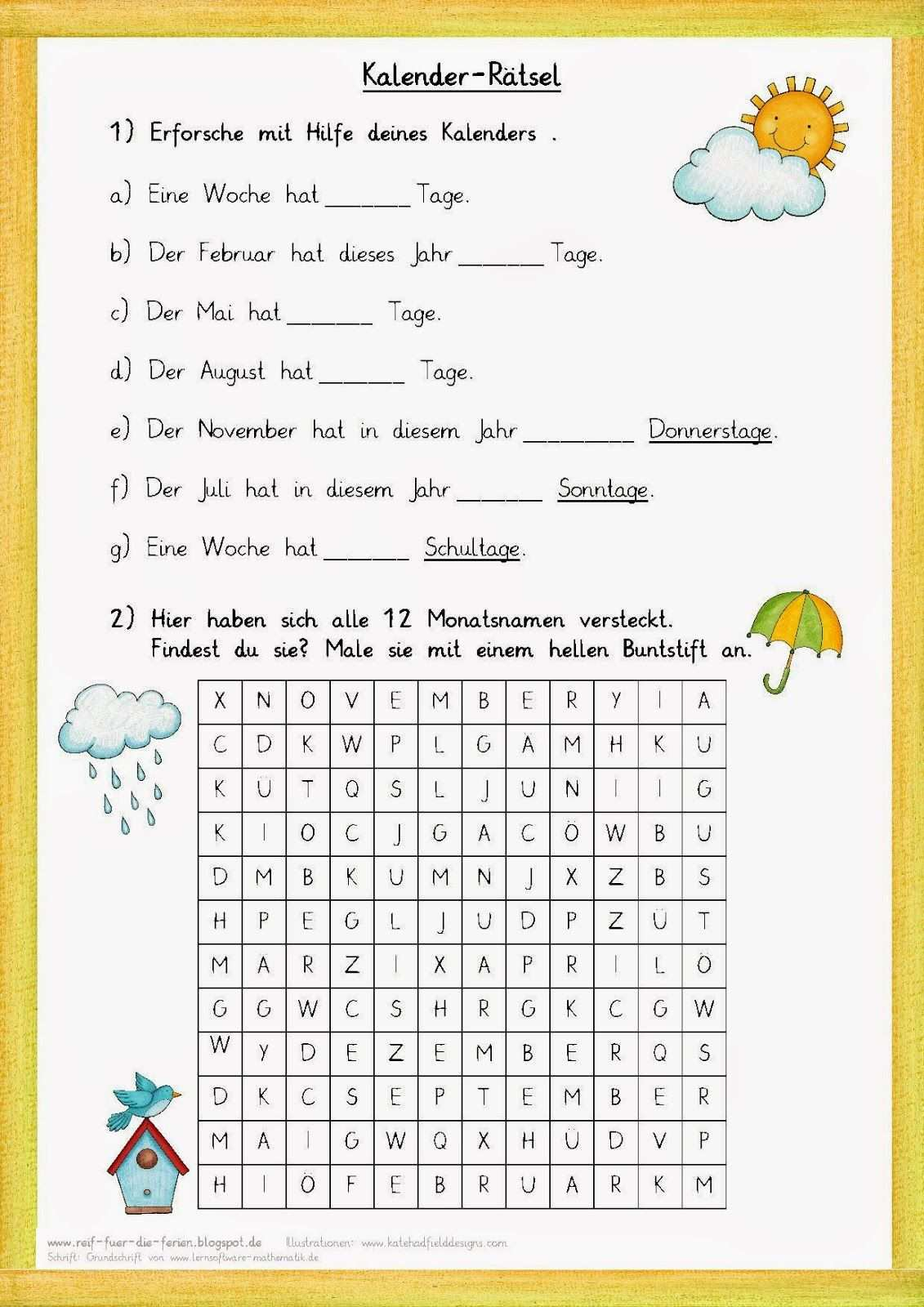 Kalender Ratsel Zum Jahr Reif Fur Die Ferien Arbeitsblatter Grundschule Unterrichten
