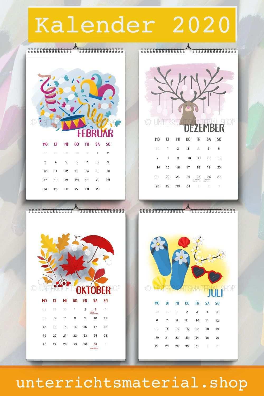 Kalender 2020 Kalender Fur Kinder Kalender Basteln Kalender Zum Ausdrucken
