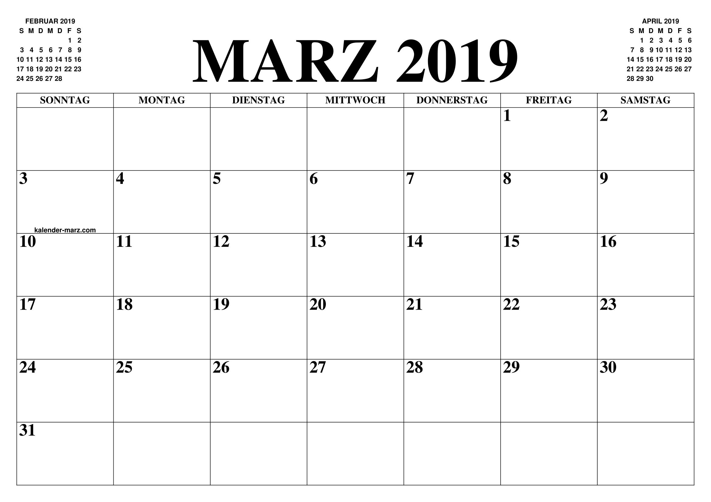 Kalender Marz 2019 Calendar Printables 2019 Calendar Template Printable