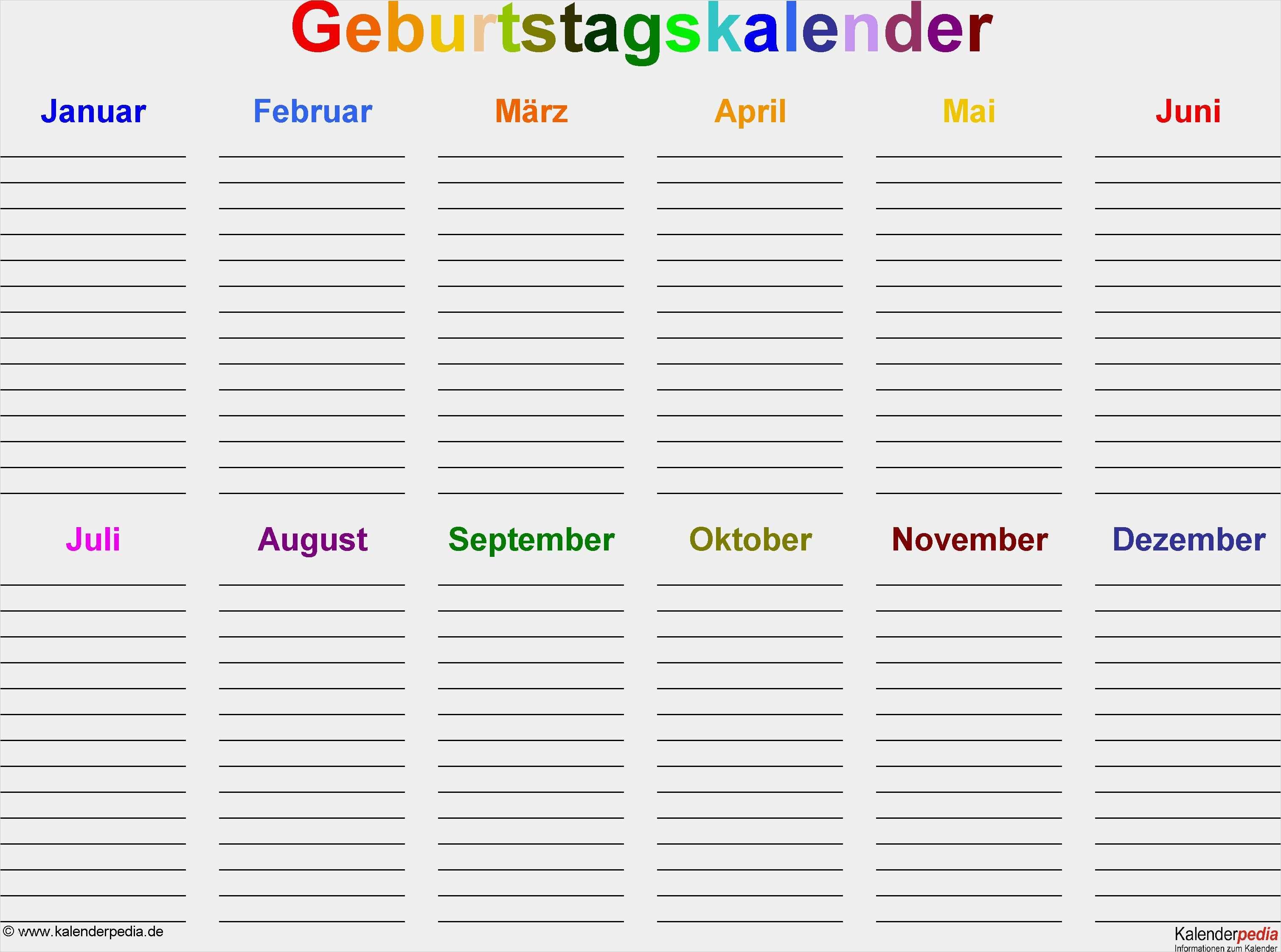 40 Genial Excel Monatskalender Vorlage Bilder Geburtstagskalender Familien Geburtstagskalender Kalender