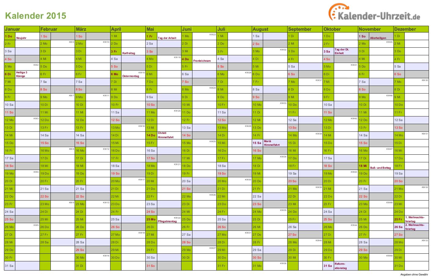 Kalender 2015 In Grun A4 Querformat Einseitig Kaluhr Kalender 2016 Kalender Kalender Feiertage