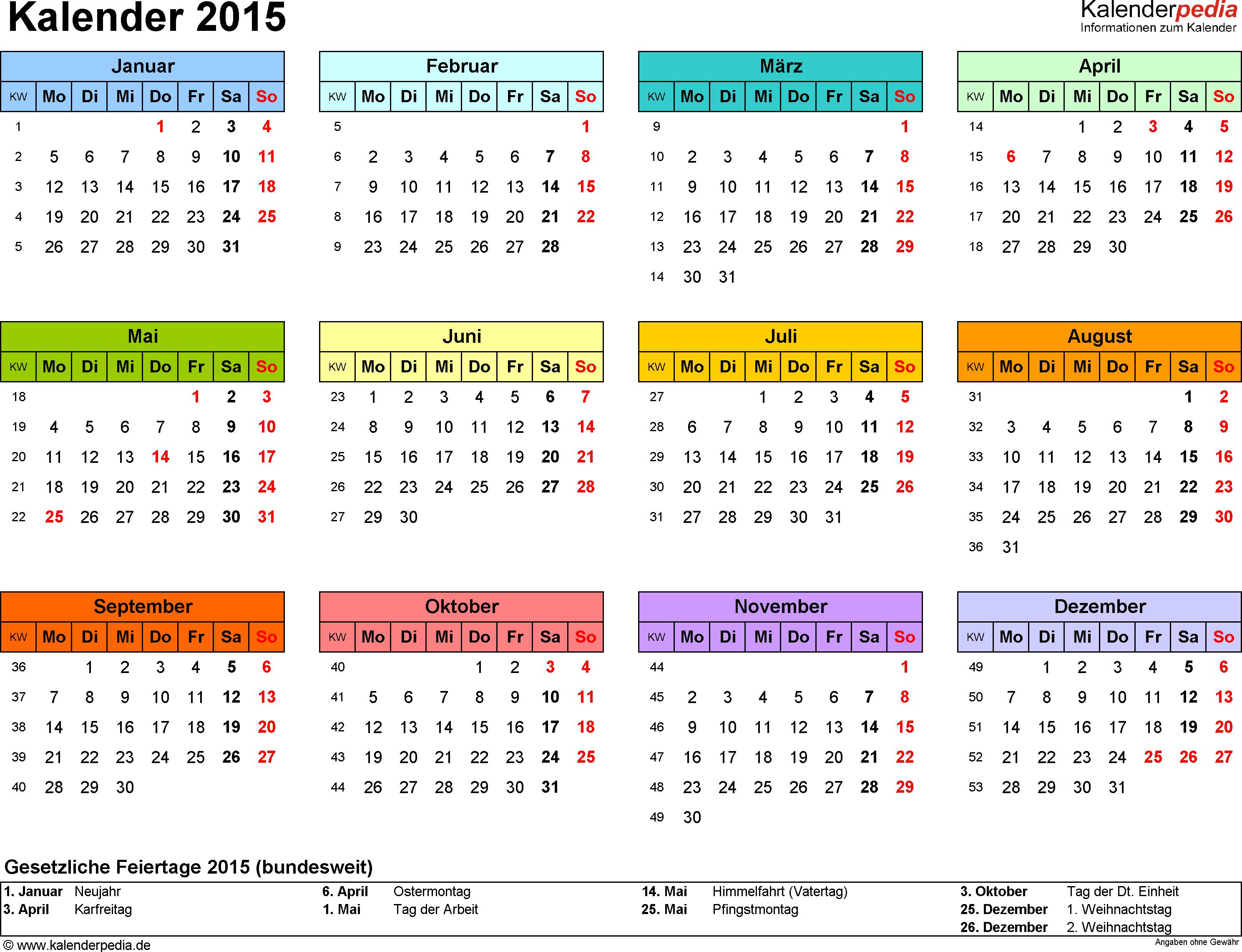 Kalenderpedia Informationen Zum Kalender Kalender 2015 Kalender Jahres Kalender