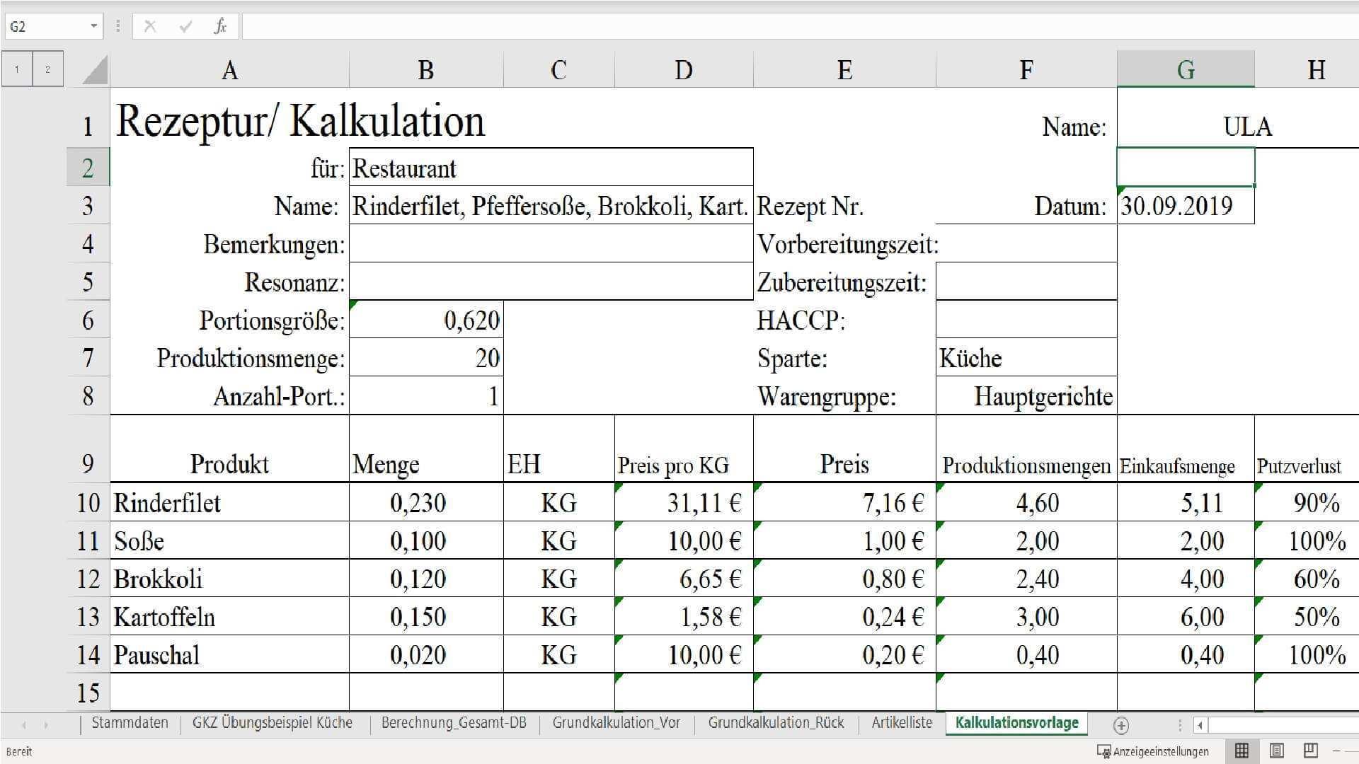 Kalkulationsprogramme Fur Die Gastronomie Hotel Gastronomie Und Gv