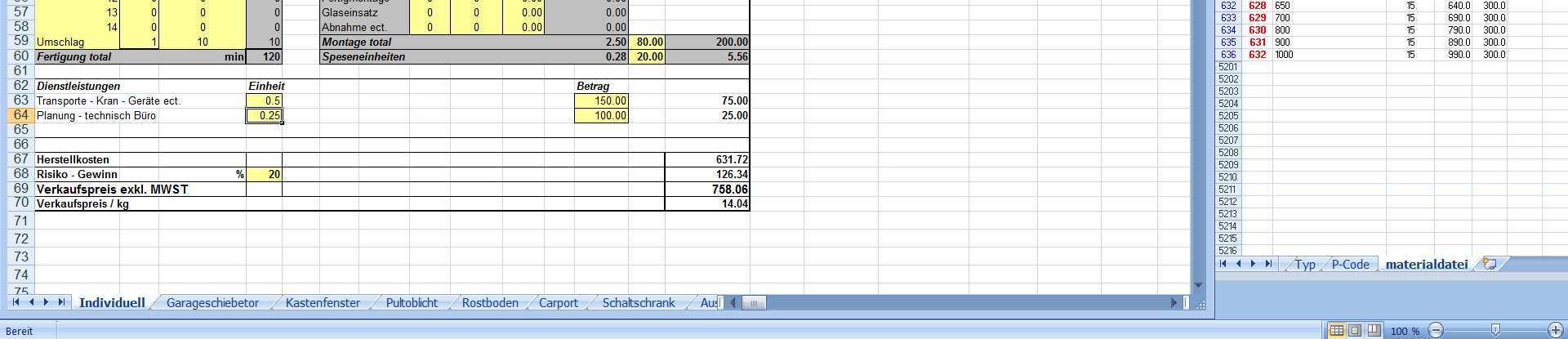 Kalkulationen Fur Den Metallbau Auf Excel Basis Pdf Kostenfreier Download