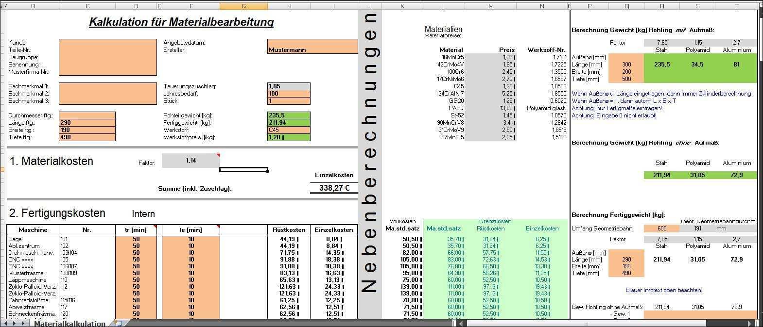 Excel Kalkulation Materialbearbeitung Berechnungs Programm Fur Maschinenbau Unternehmen