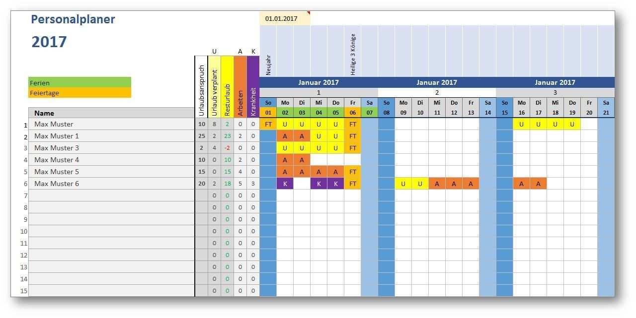 Personalplaner Ist Eine Kostenlose Excel Vorlage Zur Mitarbeiterplanung Erfasse Urlaubstage Arbeitstage Krankheitstage F Excel Vorlage Aktien Tipps Vorlagen