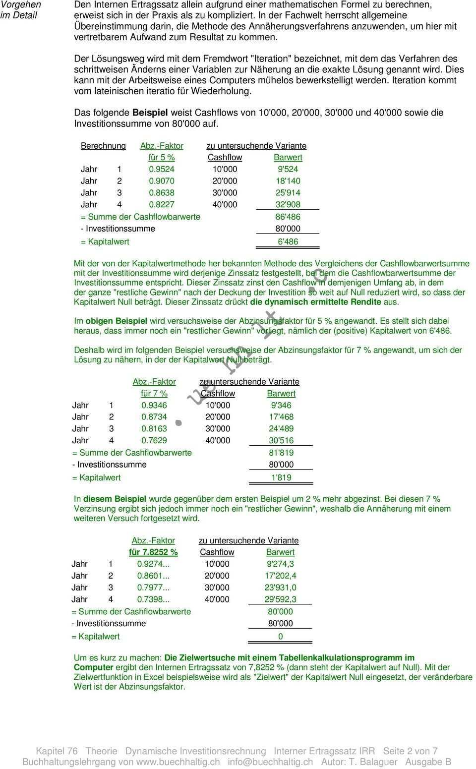 Ermittlung Der Bevorzugung Einer Investitionsvariante Aufgrund Ihrer Rendite Pdf Kostenfreier Download