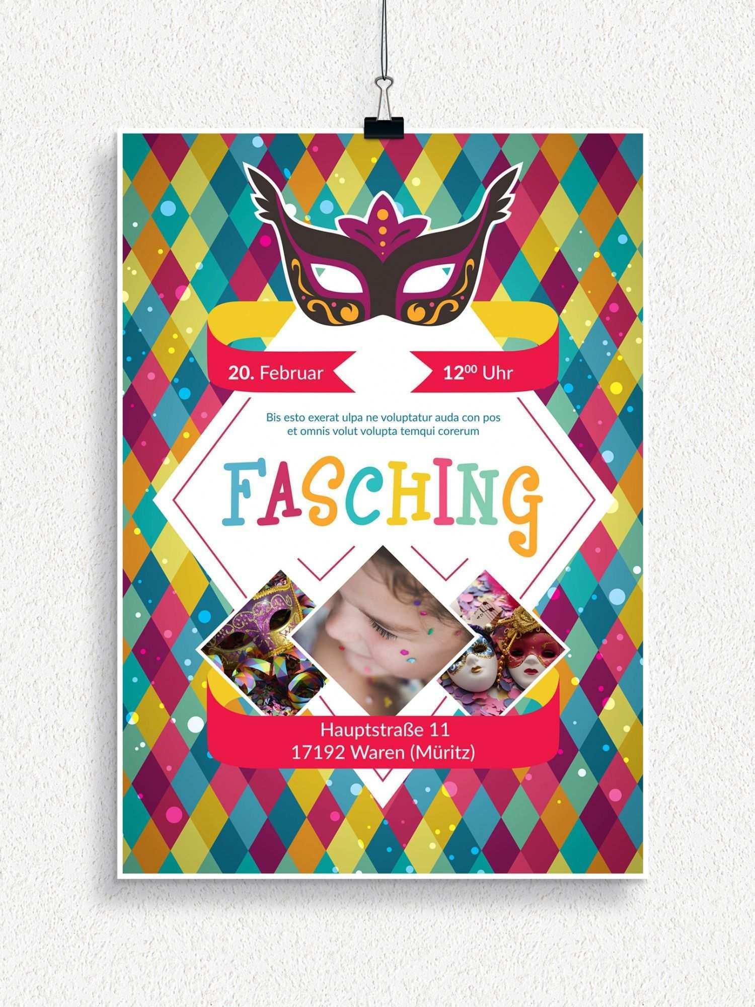 Plakat Und Flyervorlagen Fur Karneval Und Fasching Flyer Vorlage Karneval Fasching
