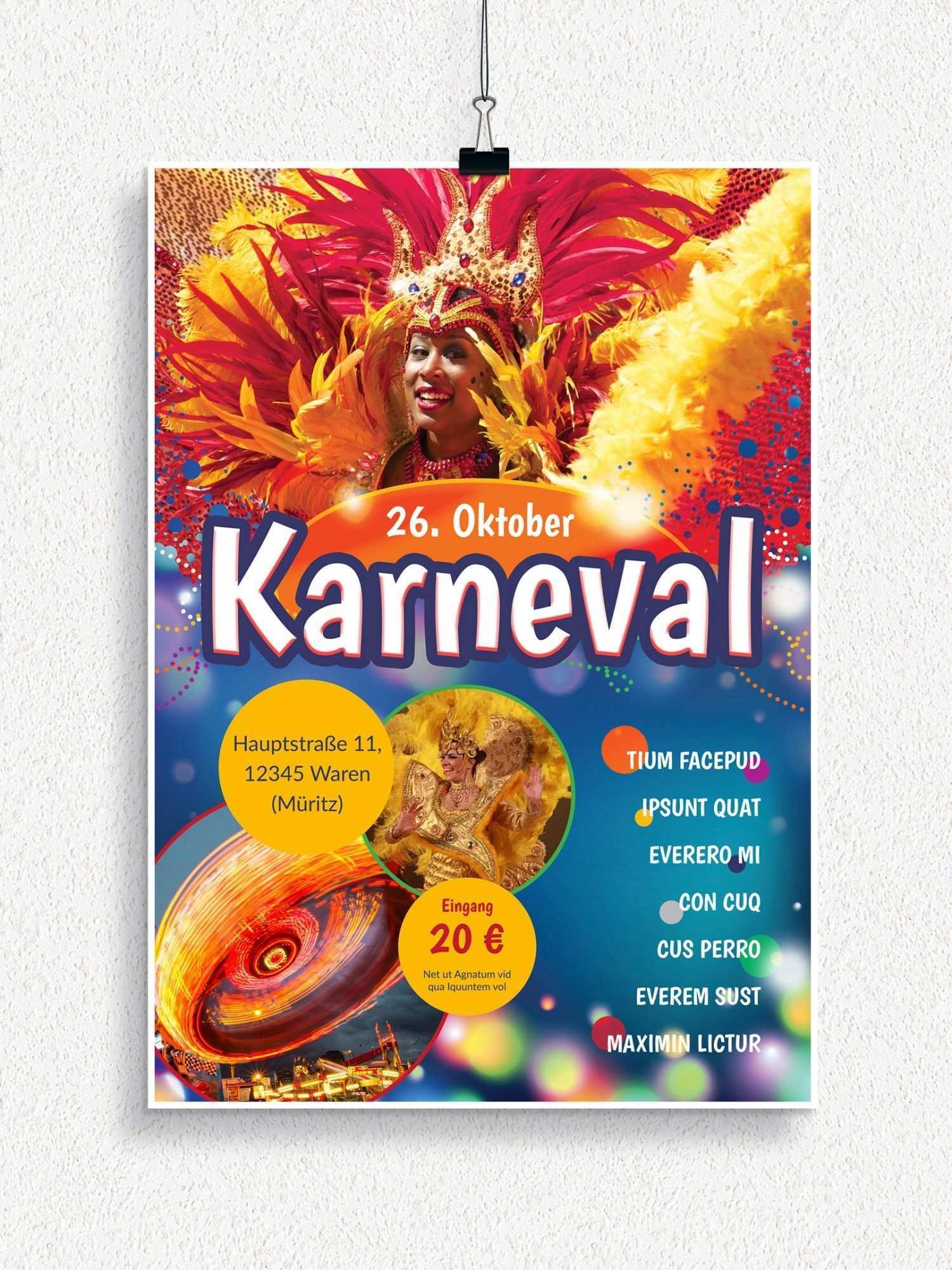 Plakat Und Flyervorlagen Fur Karneval Und Fasching Karneval Flyer Vorlage Fasching