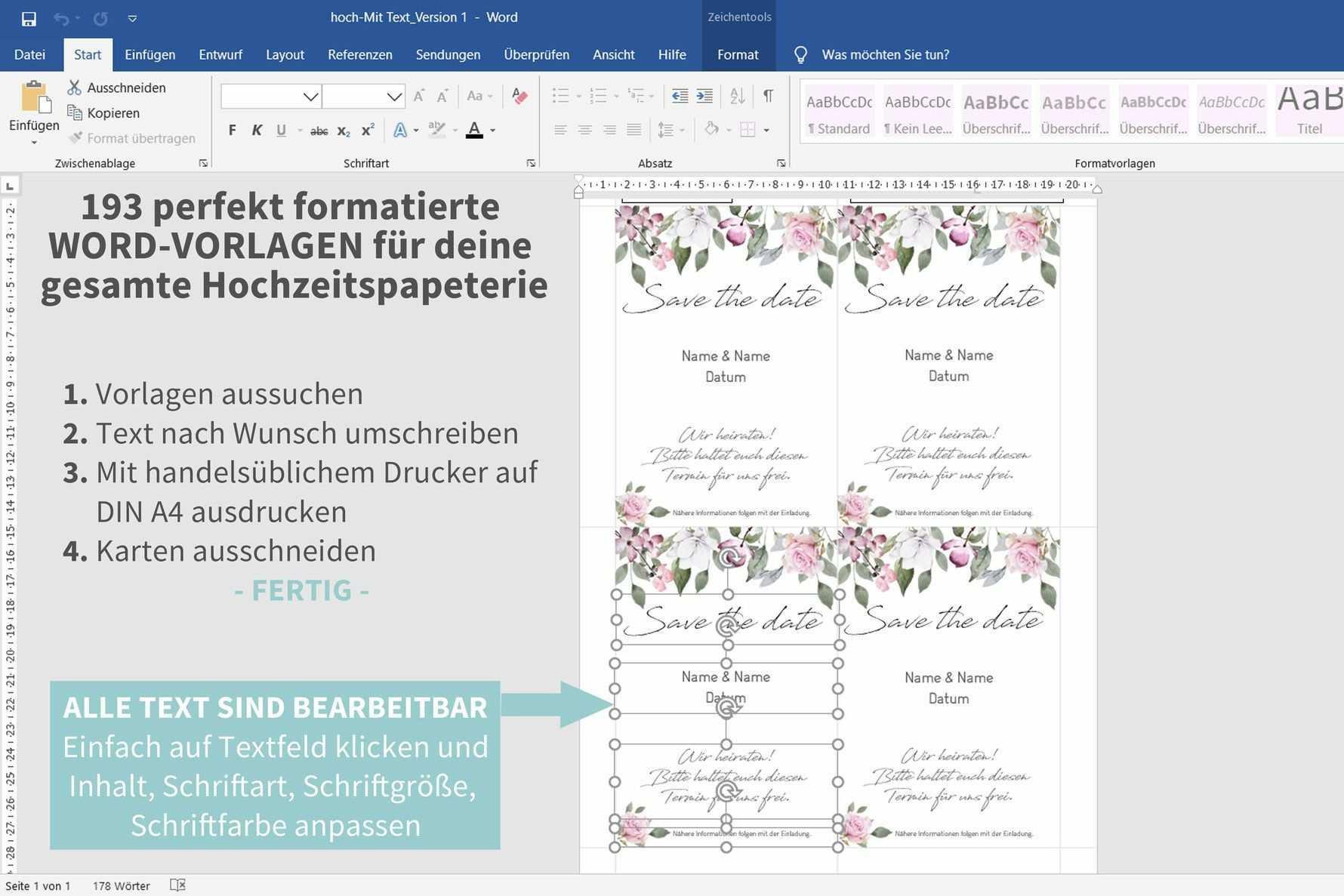 Rose 193 Word Vorlagen Zum Ausdrucken Einladungskarten Hochzeit Selbst Gestalten Tischdeko Hochzeit Selber Machen Einladungskarten Hochzeit Selber Machen