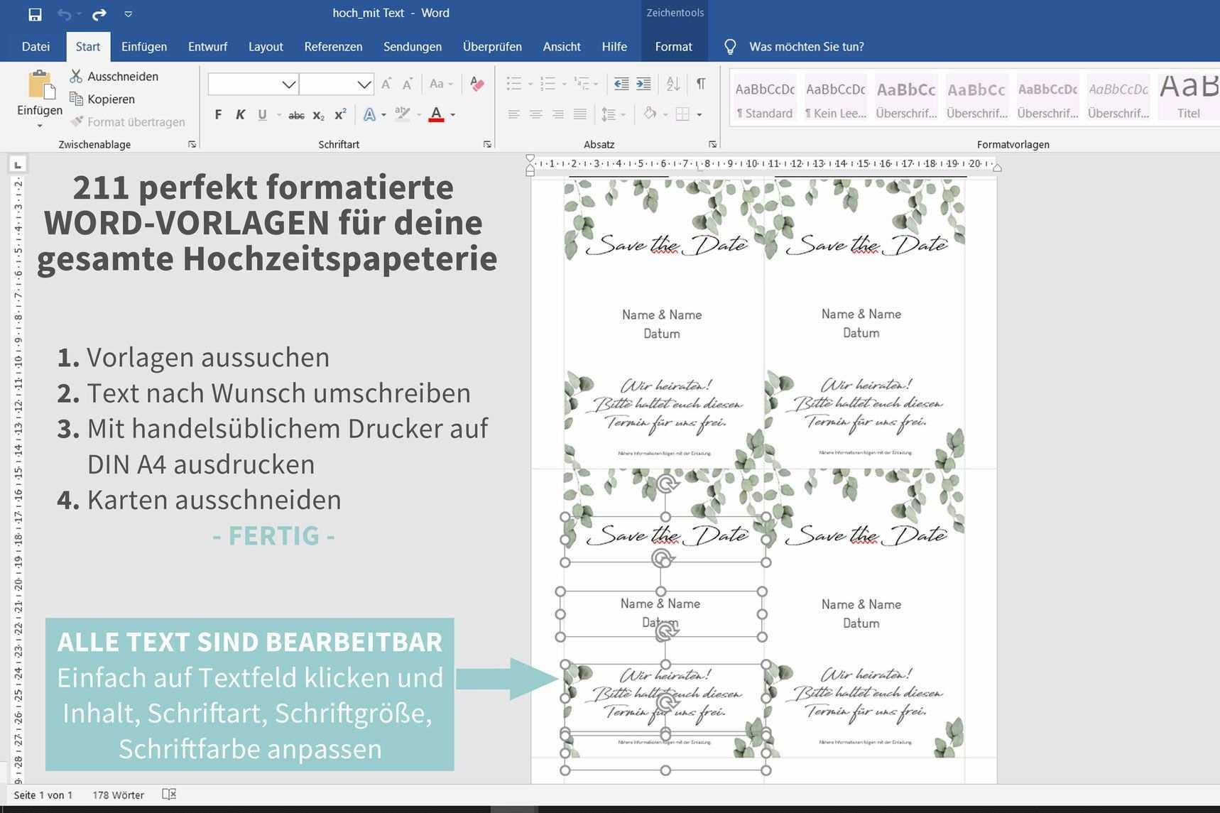 Eukalyptus 211 Word Vorlagen Zum Ausdrucken Einladungskarten Hochzeit Selbst Gestalten Tischdeko Hochzeit Selber Machen Diy Hochzeit Planen