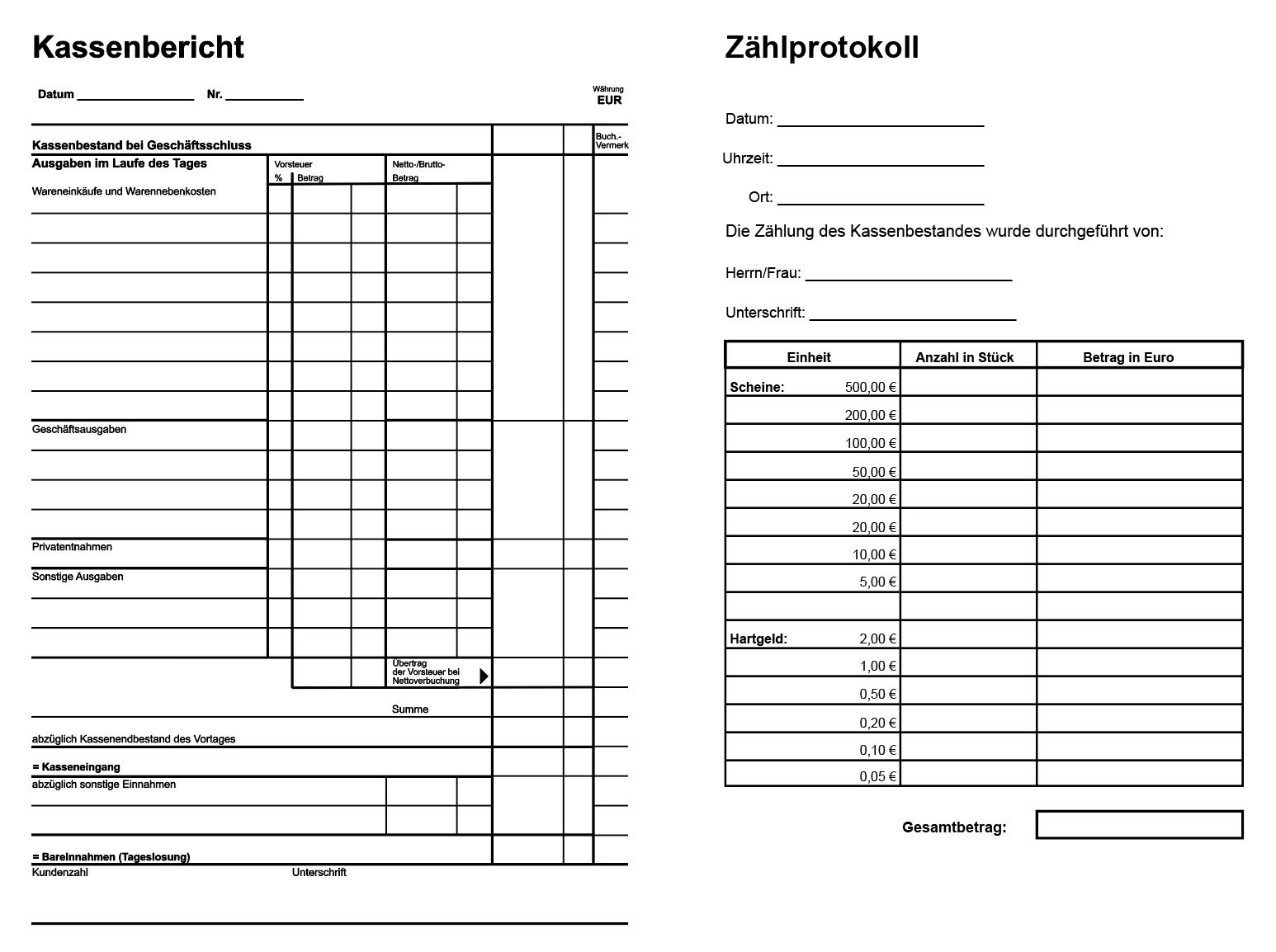Kassenbericht Und Zahlprotokoll Pdf Vorlagen Anschreiben Vorlage Excel Vorlage