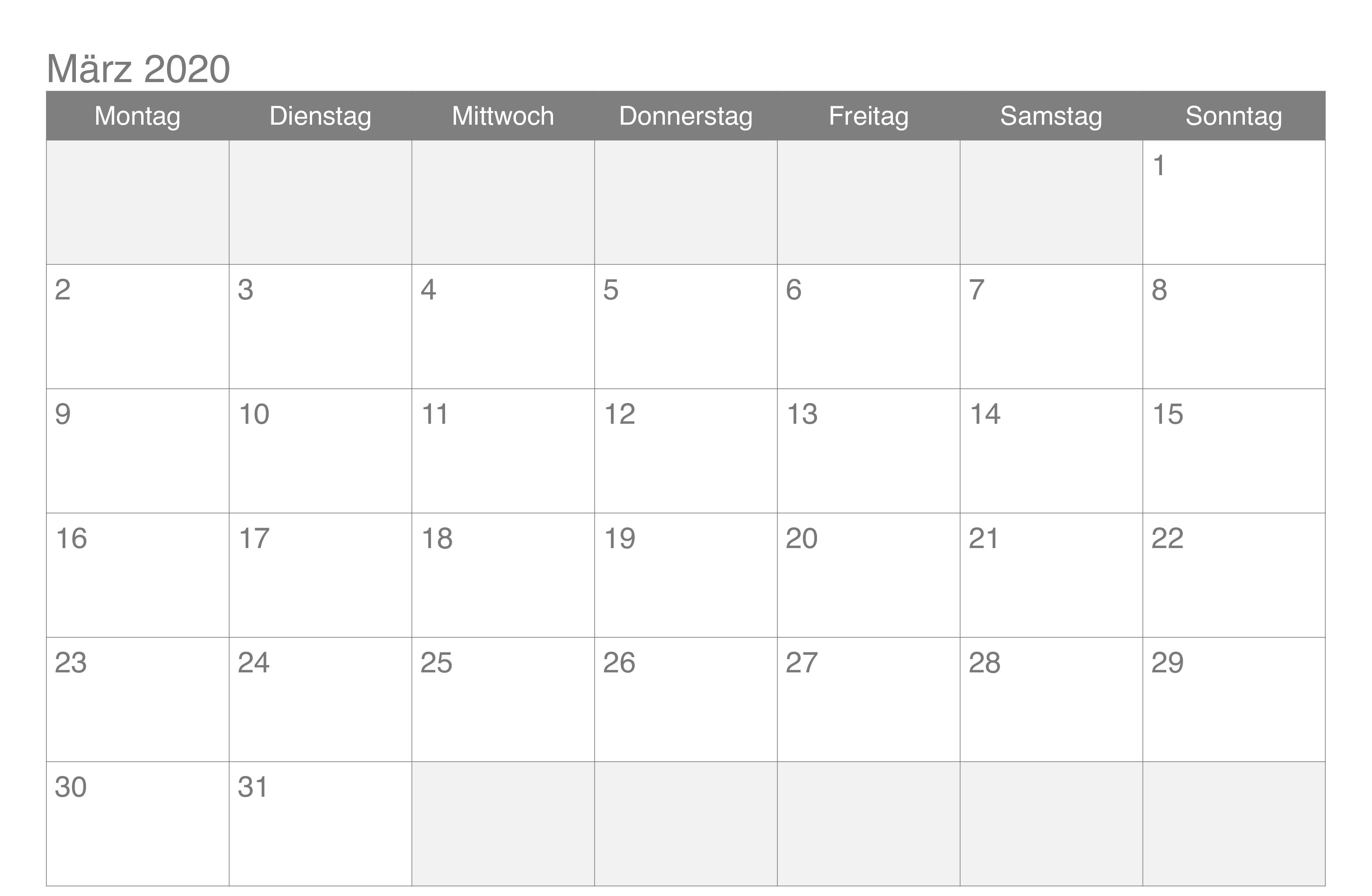 Kalender Marz 2020 Zum Ausdrucken Monthly Calendar Template Calendar November
