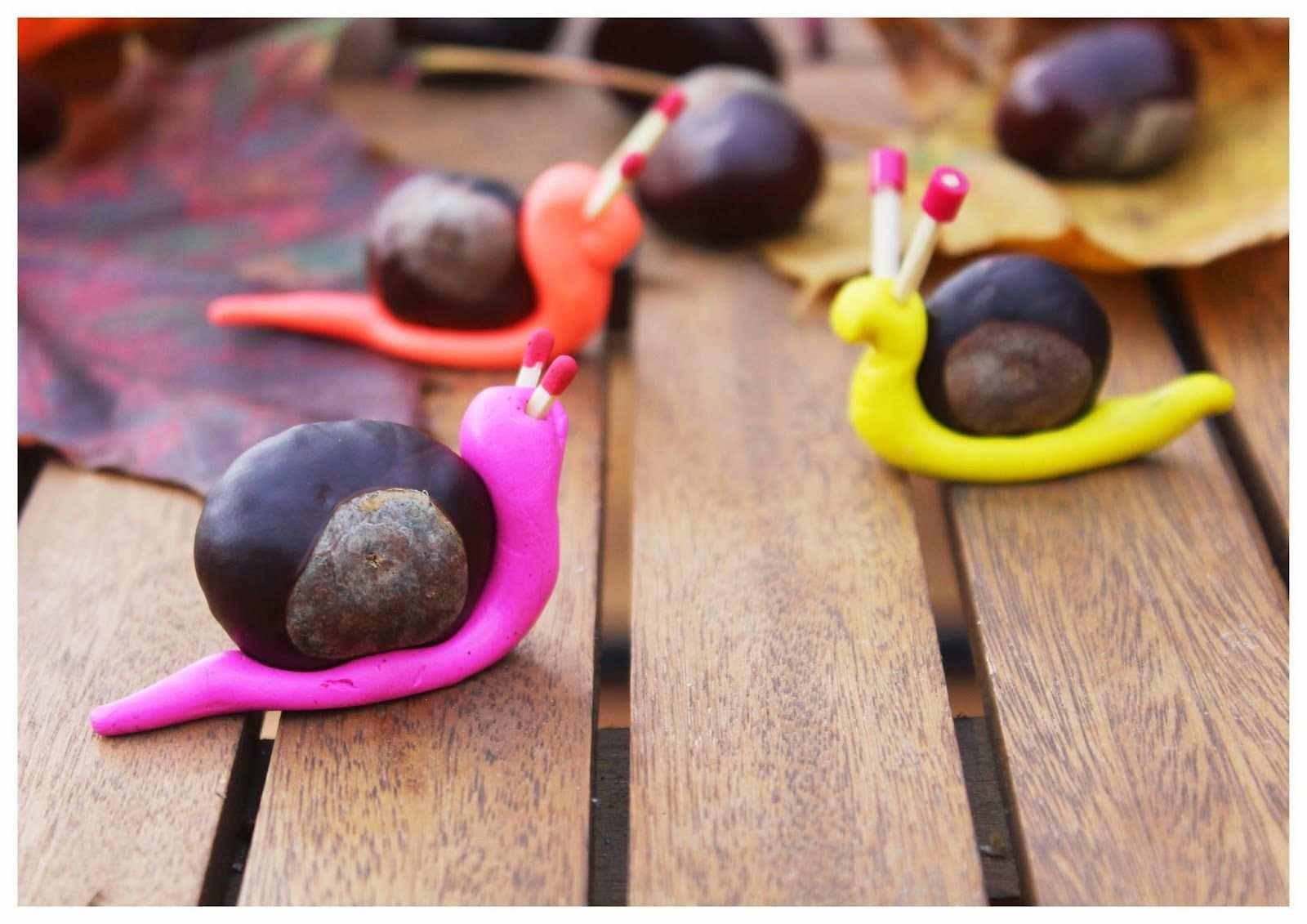 Kastanienschnecke Crafts For Kids Art For Kids Autumn Crafts