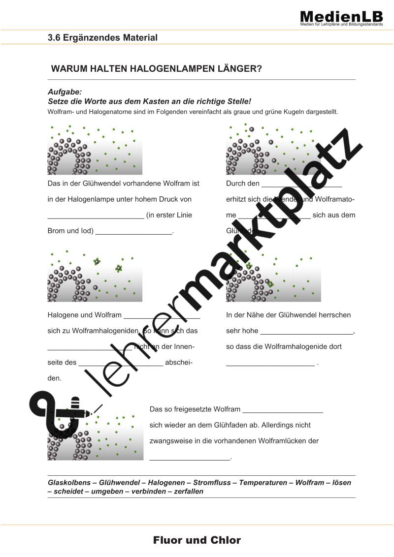 Halogenlampen Aufbau Und Eigenschaften Unterrichtsmaterial Im Fach Chemie Chemie Lehrmaterial Chemische Reaktion