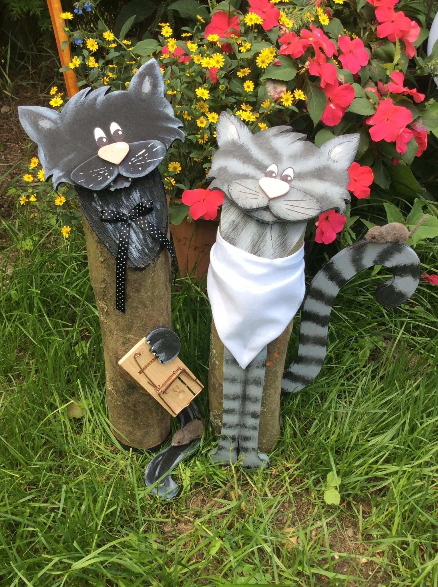 Katzen Baumstammfiguren Holzdeko Holzdeko Basteln Holzdeko Dekoration