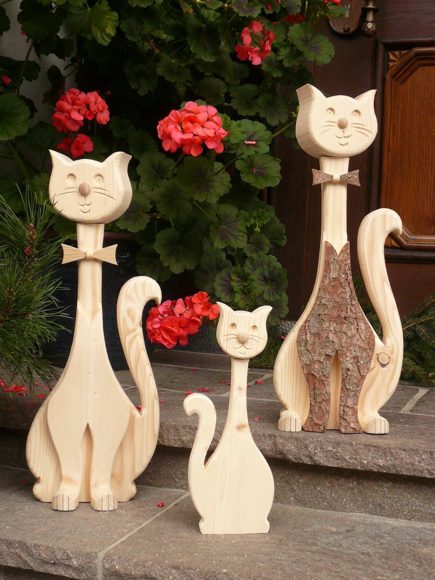 Deko Katzen Holz Katzen Schreinerei Vogler Bastelarbeiten Deko Katze Holz Kreationen