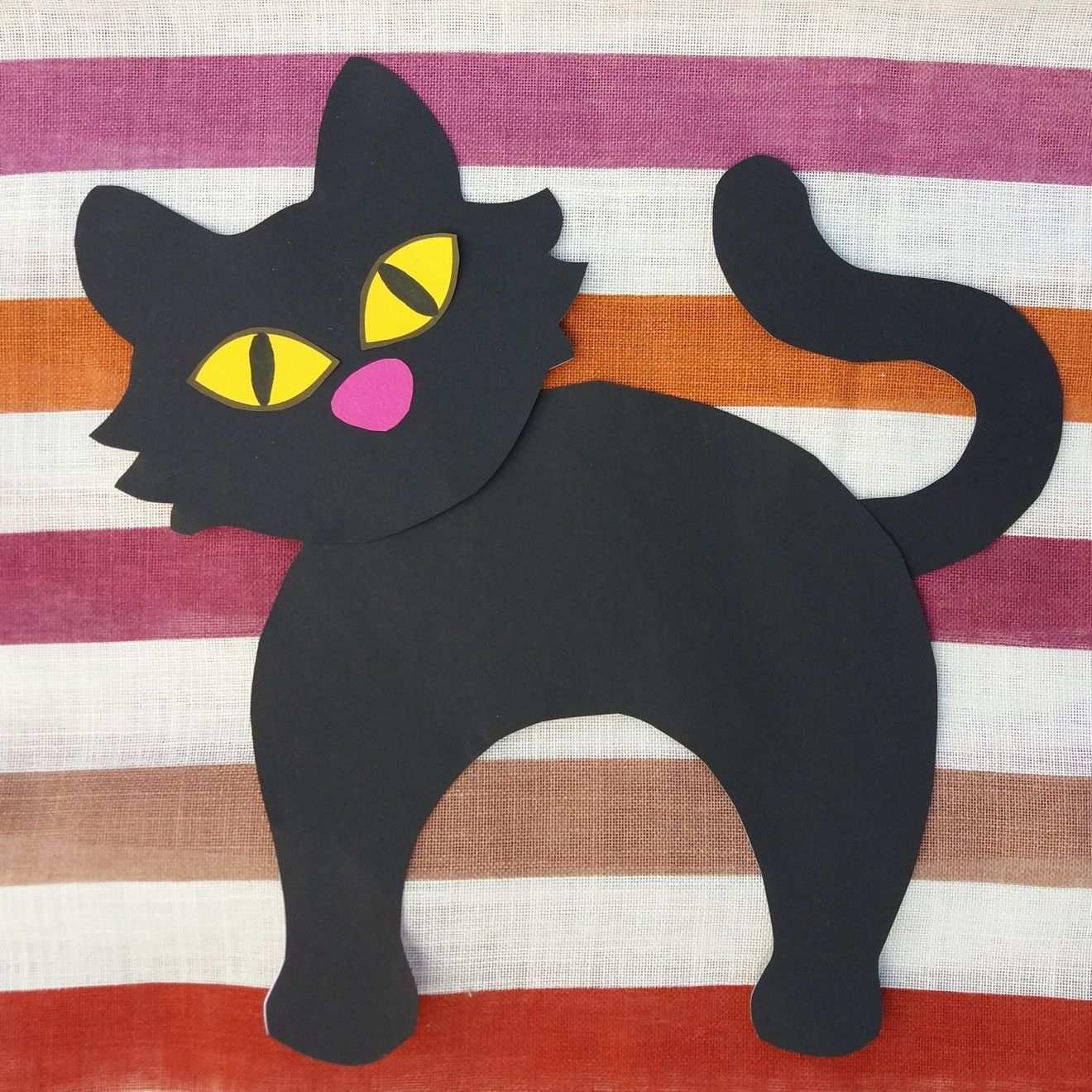 Schwarze Katzen Bastelvorlage Halloween Unterrichtsmaterial In Den Fachern Fachubergreifendes Kunst Schwarze Katze Basteln Bastelvorlagen