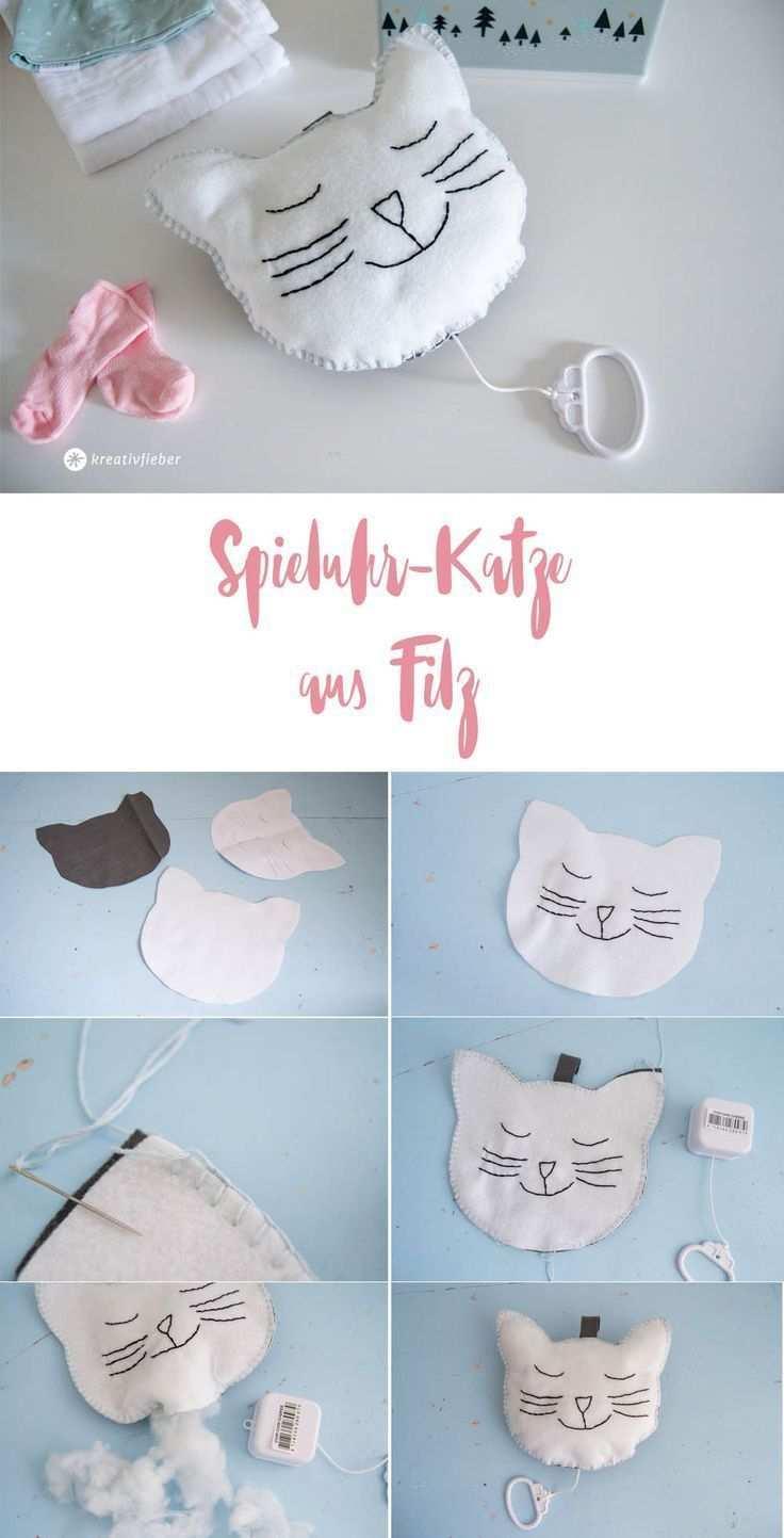 Diy Spieluhr Katze Aus Filz Selbermachen Baby Spieluhr Spieluhr Originelle Geschenke Zur Geburt