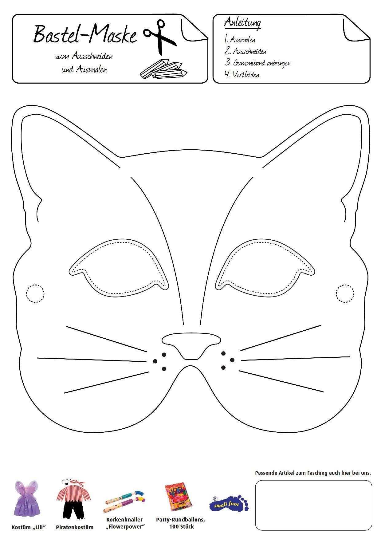 Katzenmaske Eine Anmutige Verkleidung Gelingt Mit Dieser Hubschen Maske Tiermasken Basteln Katzen Maske Masken Basteln