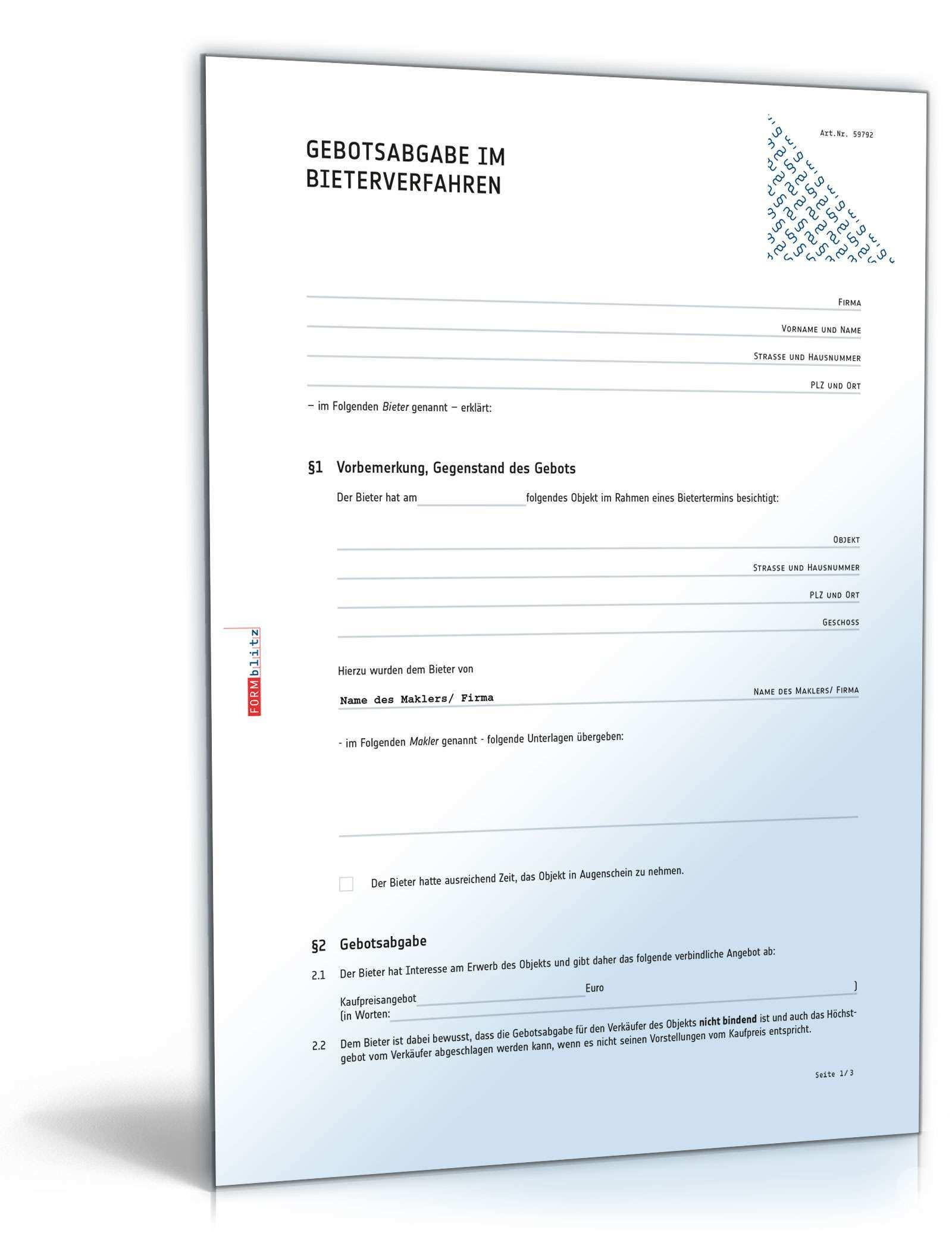 Bieterverfahren Gebotsabgabe Immobilie Muster Zum Download