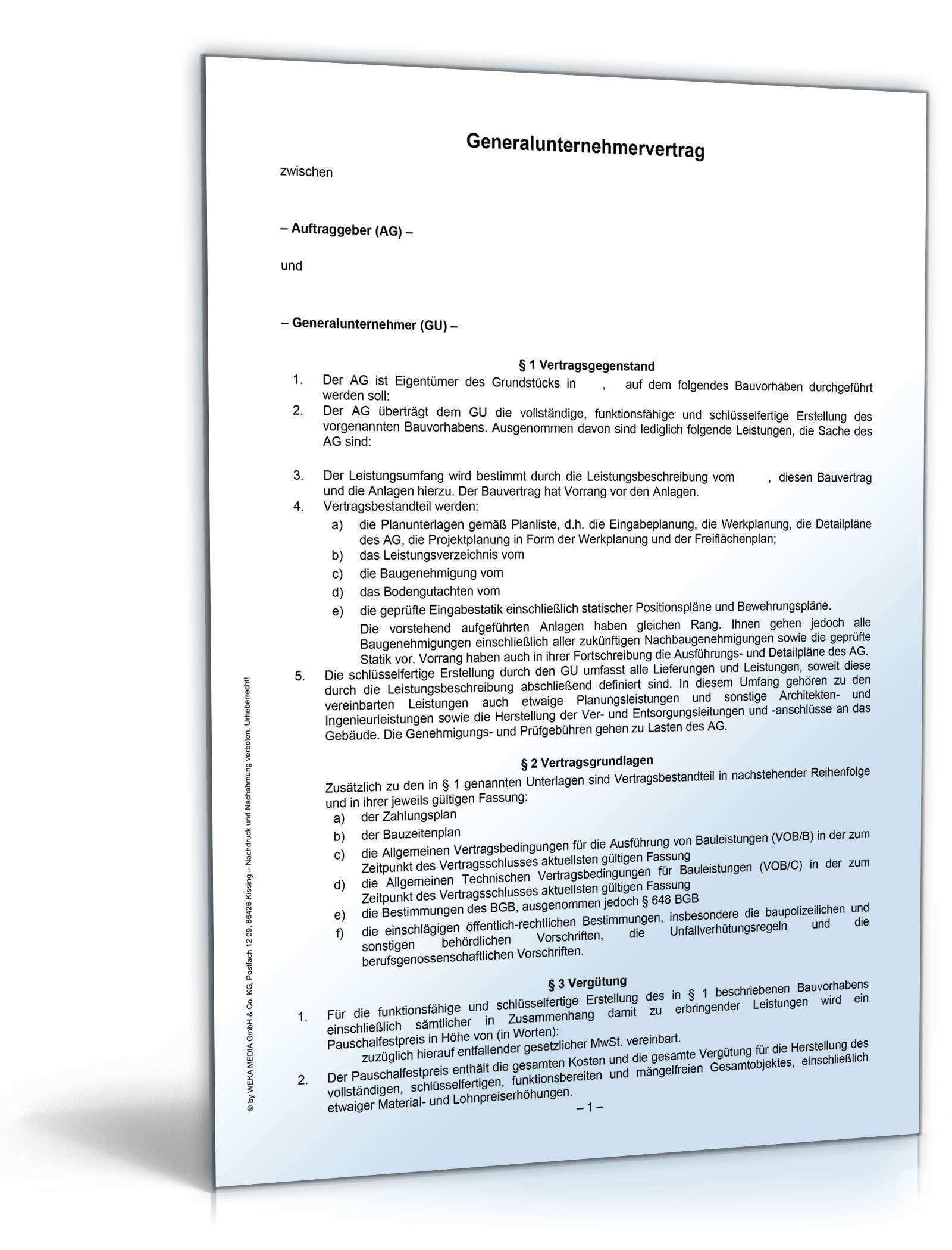 Generalunternehmervertrag Rechtssichere Vorlage Sofort Zum Download Muster Fur Einen Vertrag Hier Als Pd Terminplaner Erstellen Unternehmungen Baugrundstucke