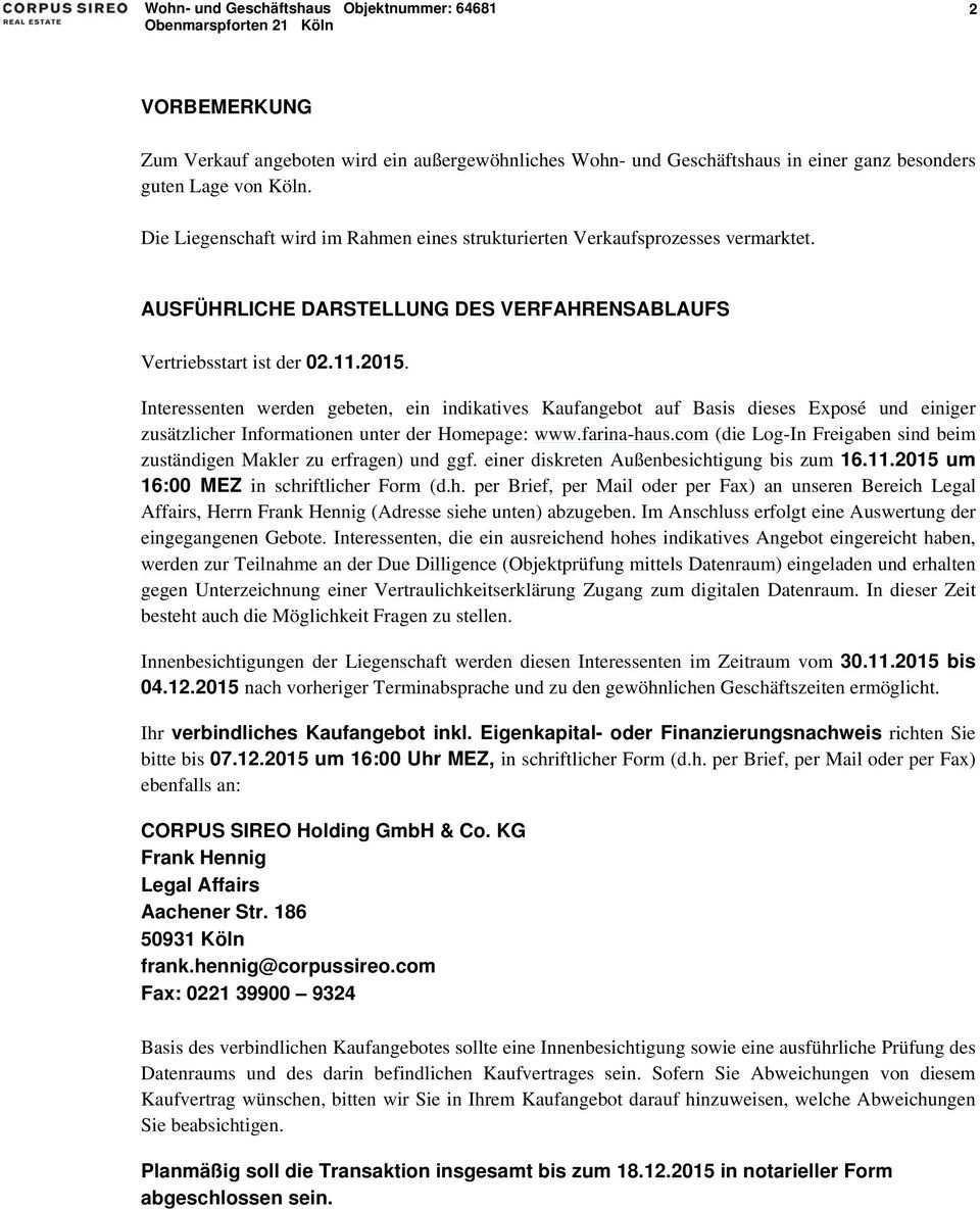 Das Farina Haus Kann Erworben Werden Obenmarspforten Koln Pdf Kostenfreier Download
