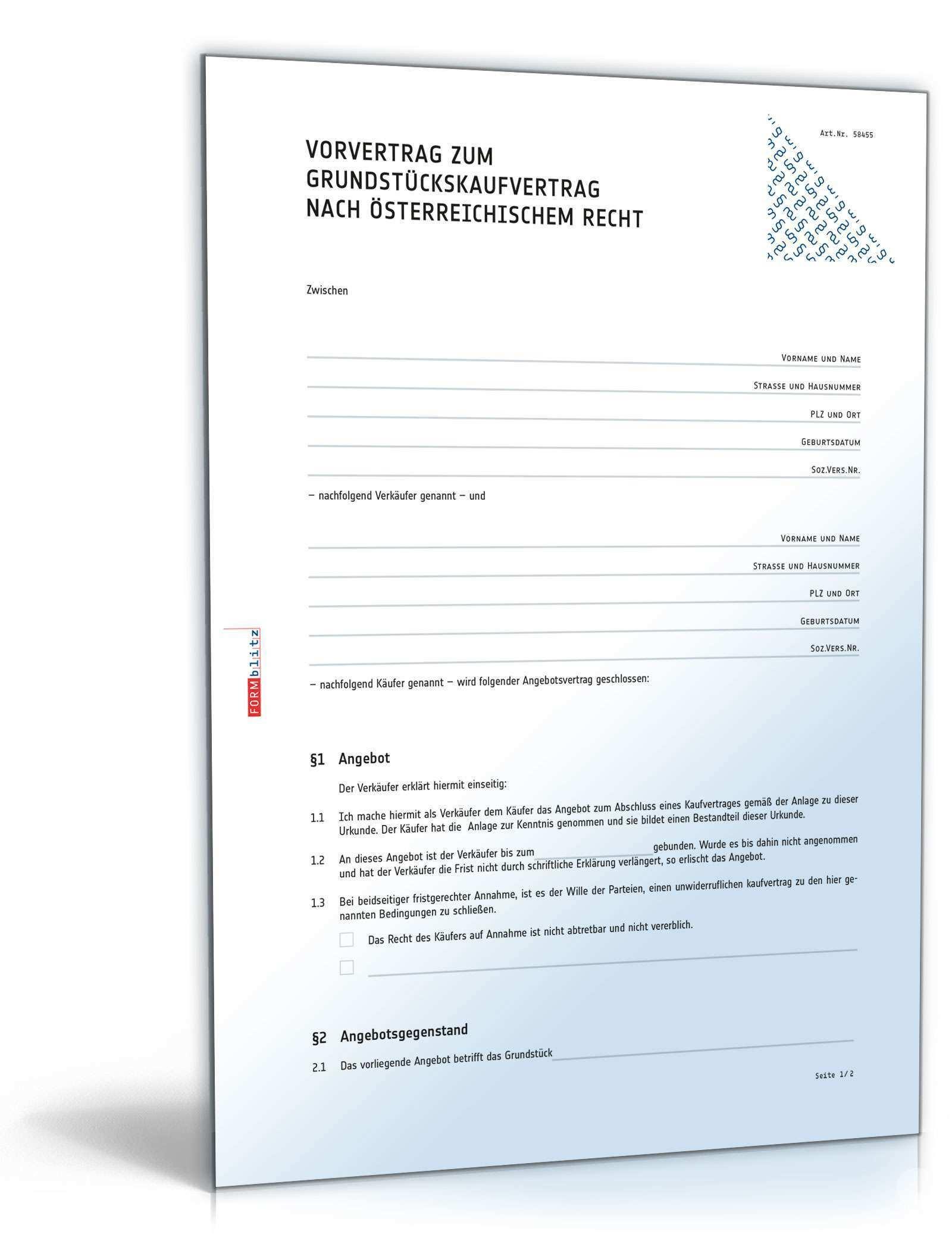 Vorvertrag Zum Grundstuckskaufvertrag Muster Vorlage Zum Download